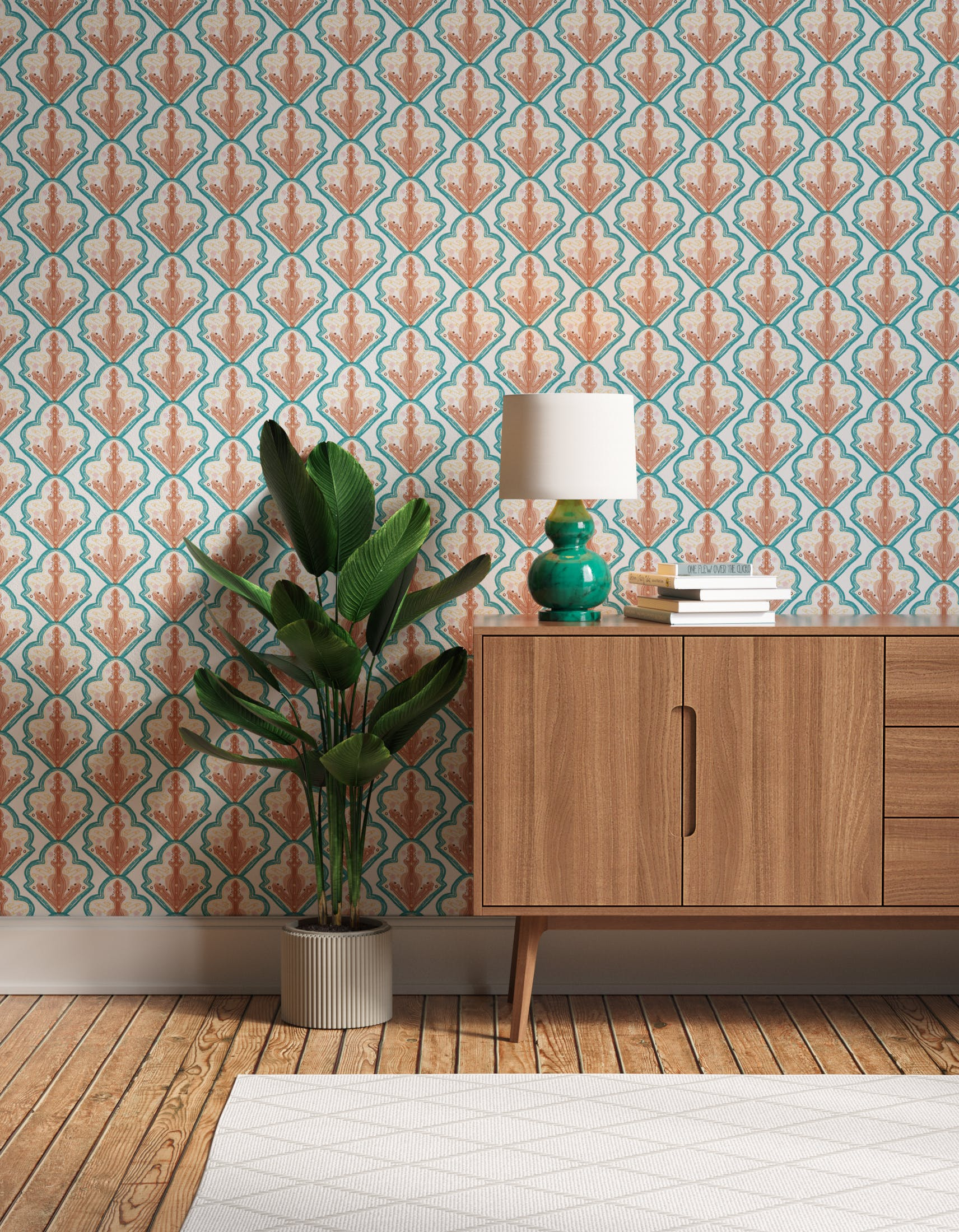 Hallway decorated with Lick x Lottie McDowell Travelling Tiles 01 mosaic wallpaper