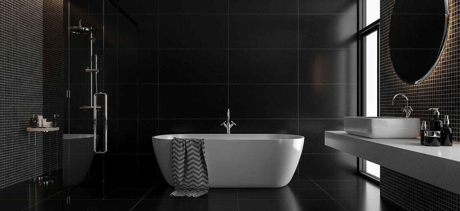 Black bathroom with bathtub