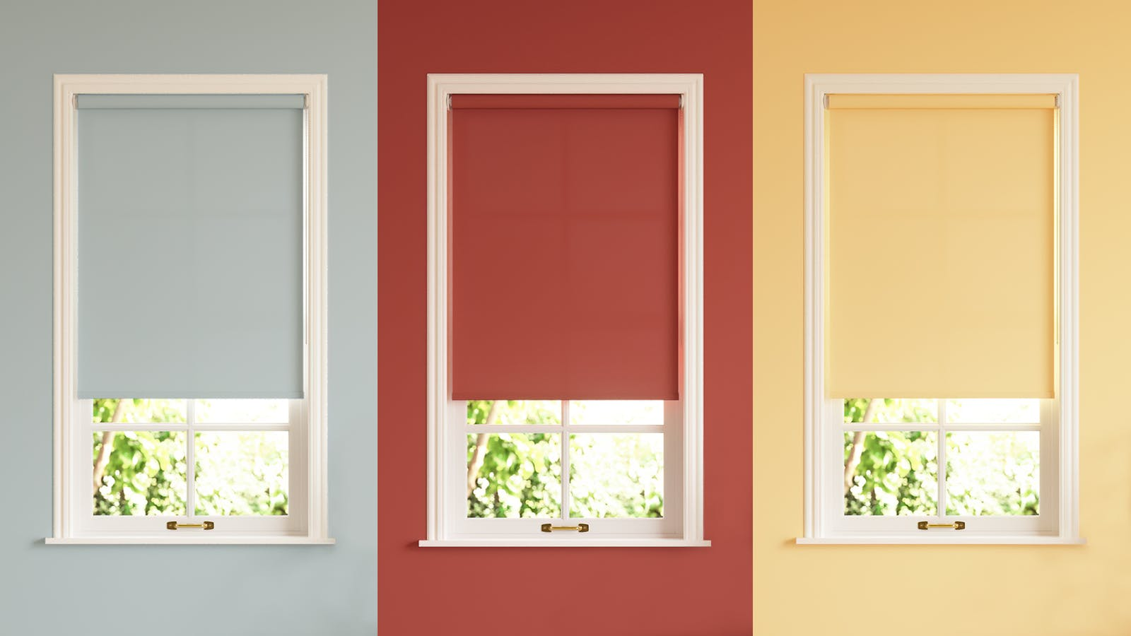 A collage of Lick roller blinds in grey, red and a vibrant yellow