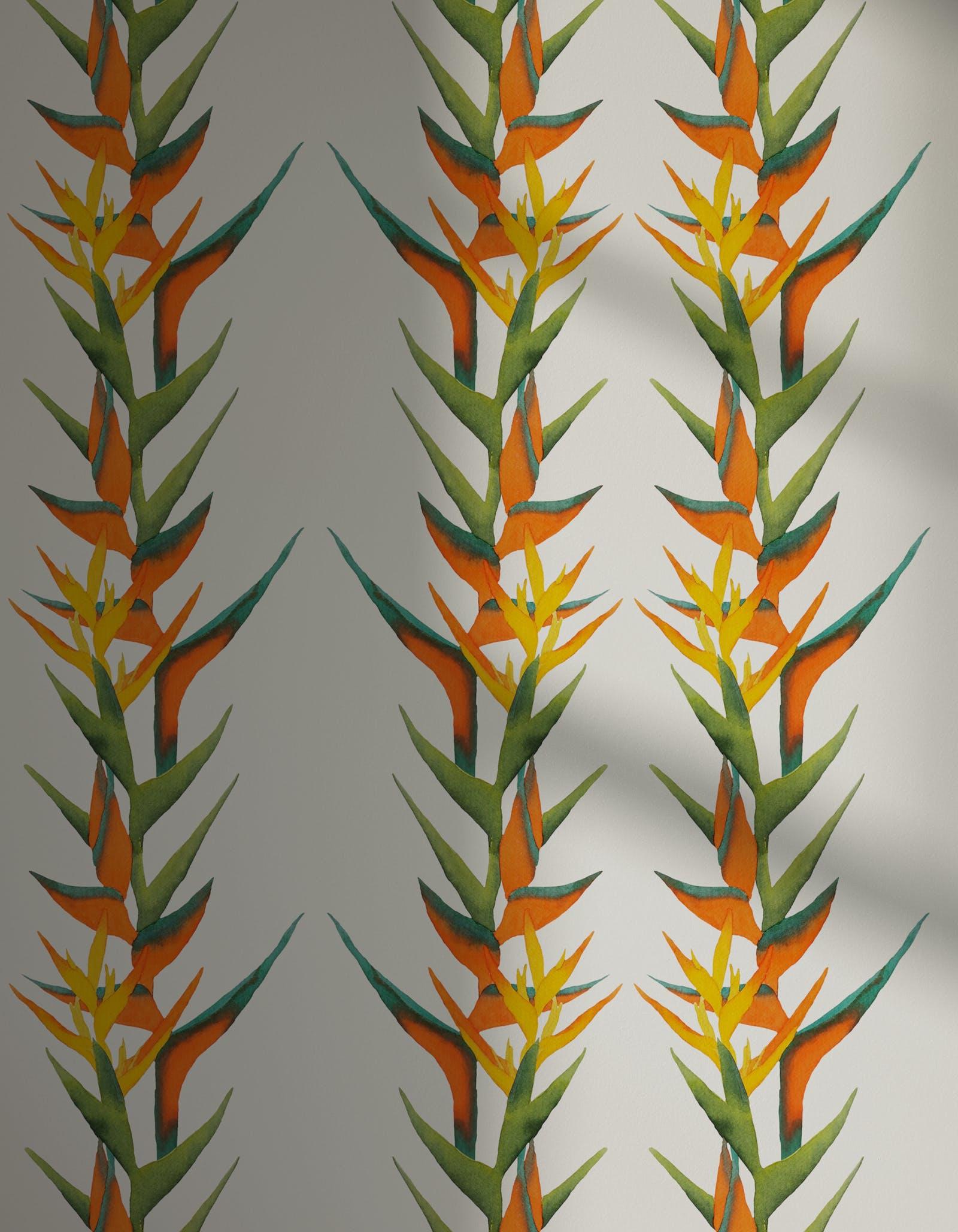 Lick x Belinda Bayley Paradise Vine 01 orange exotic botanical wallpaper with shadow