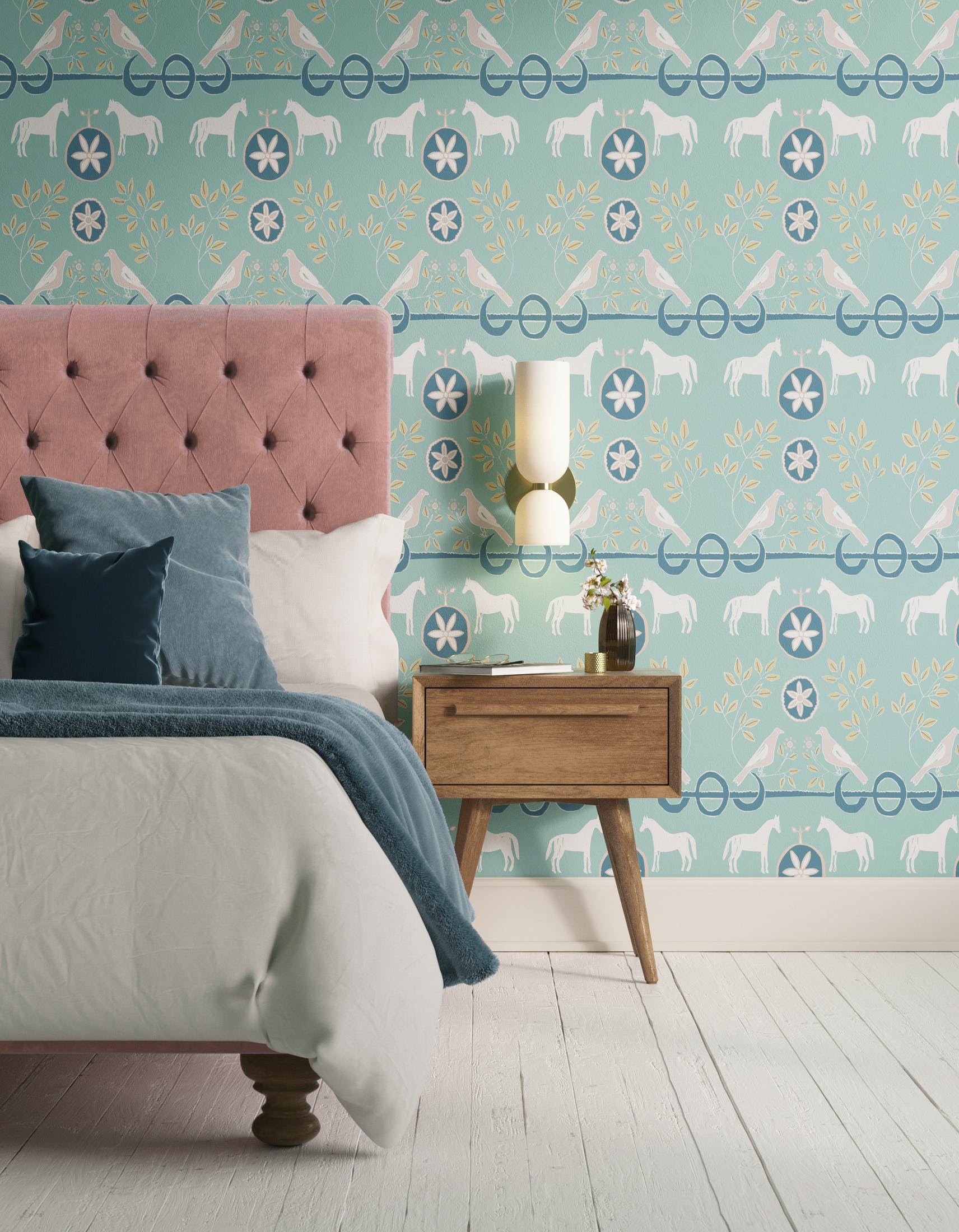 Bedroom decorated with Lick x Annika Reed Dove 02 kid's green dove wallpaper