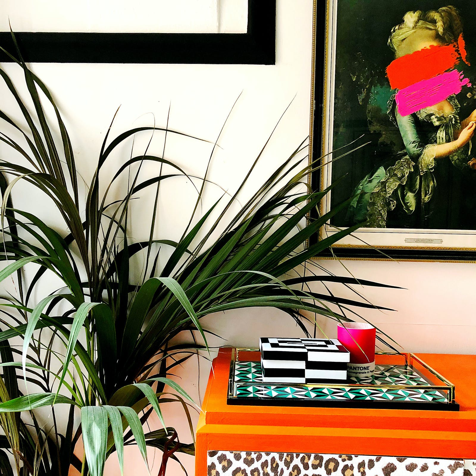 RHOI close up of indoor plant, orange table and neon artwork