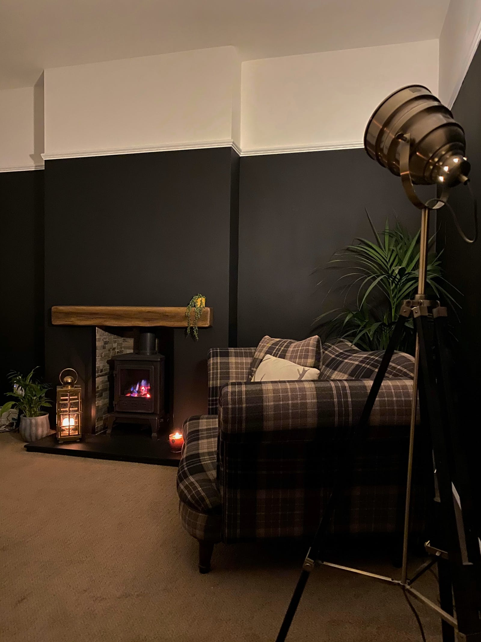 Cozy living room with fireplace and Lick Black 02 walls