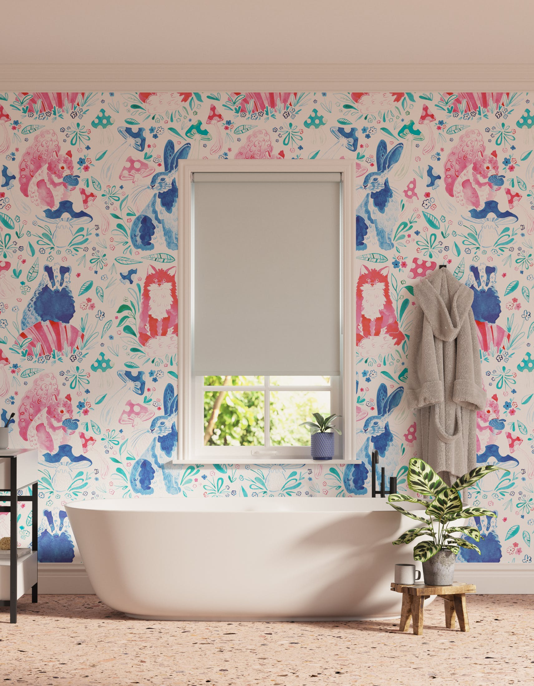 Bathroom decorated with Lick x Franki Barber Woodland Animals 01 pink and blue children's wallpaper