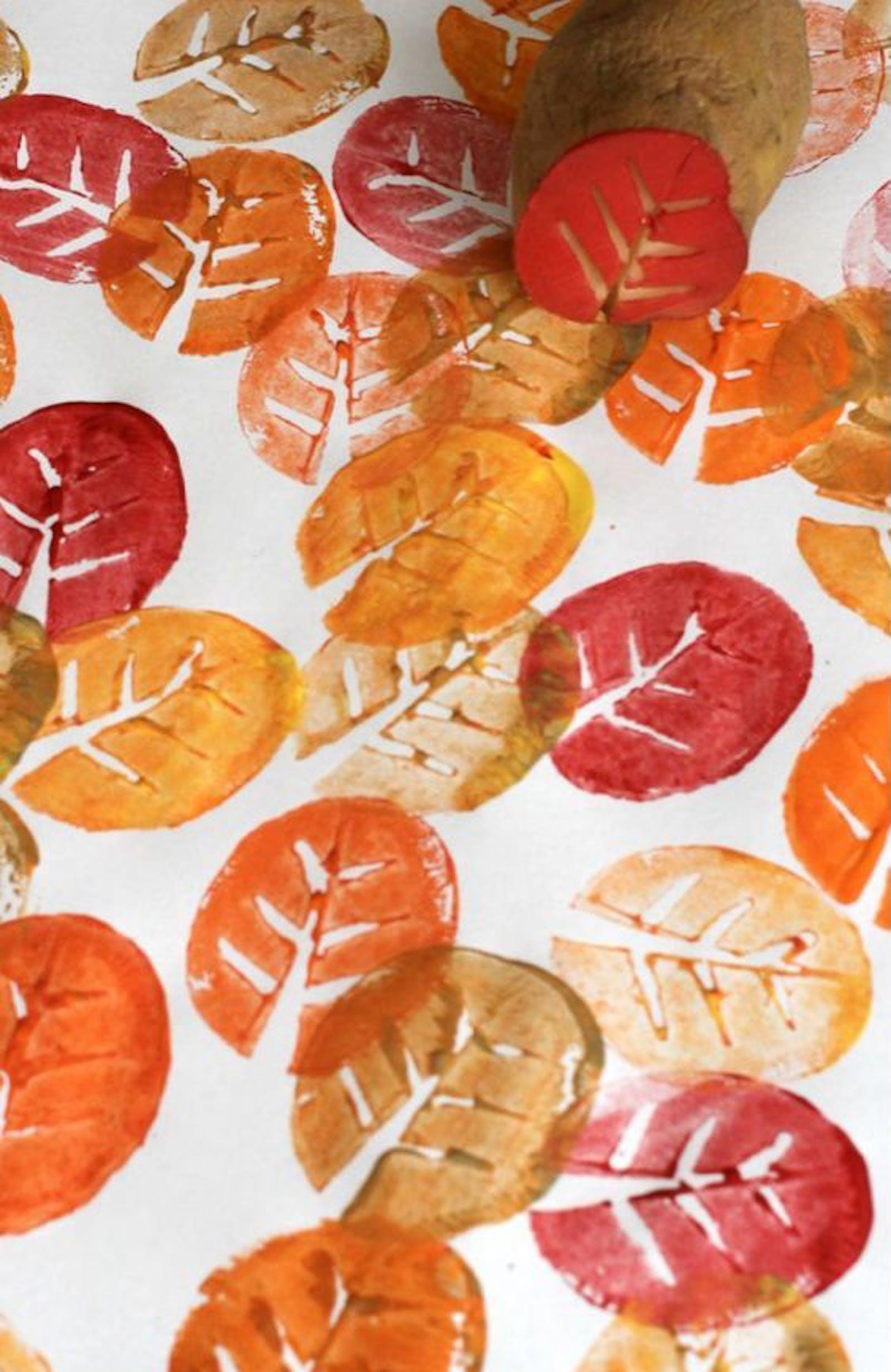 Potato stamps in leaf print