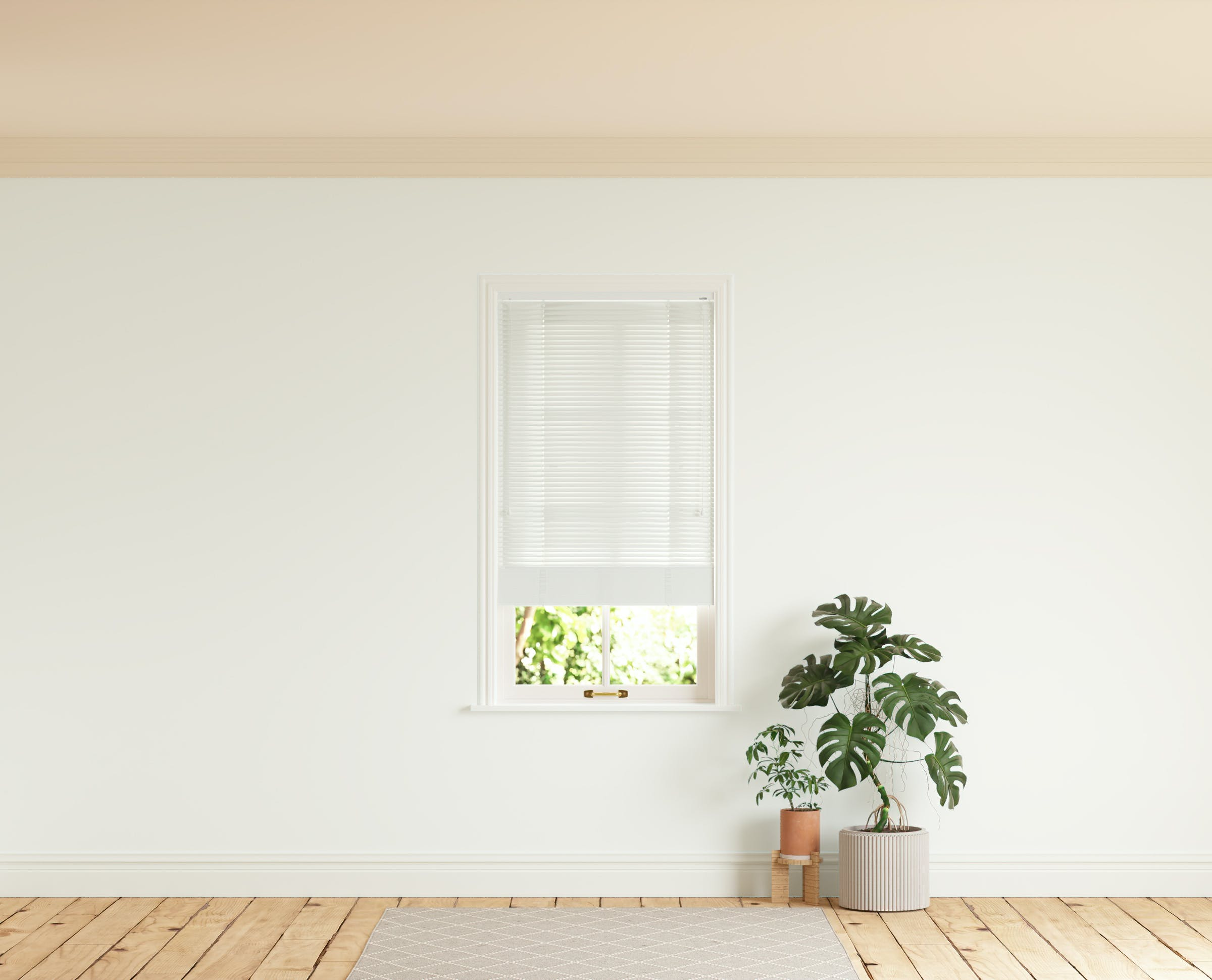 Room with walls painted in Lick White 01 and White 01 Venetian fine grain blinds