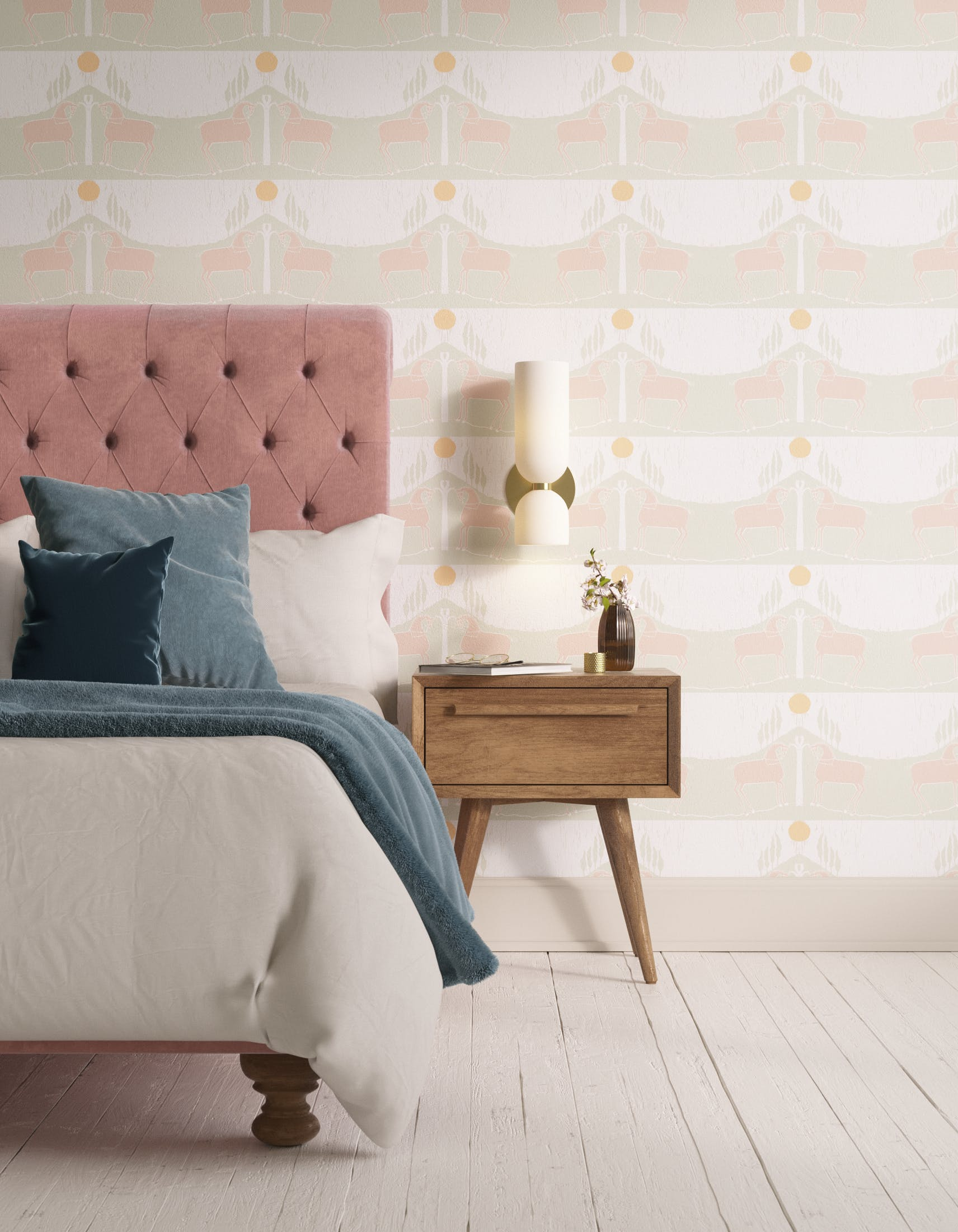 Bedroom decorated with Lick x Annika Reed Western 02 white and mint green animal wallpaper