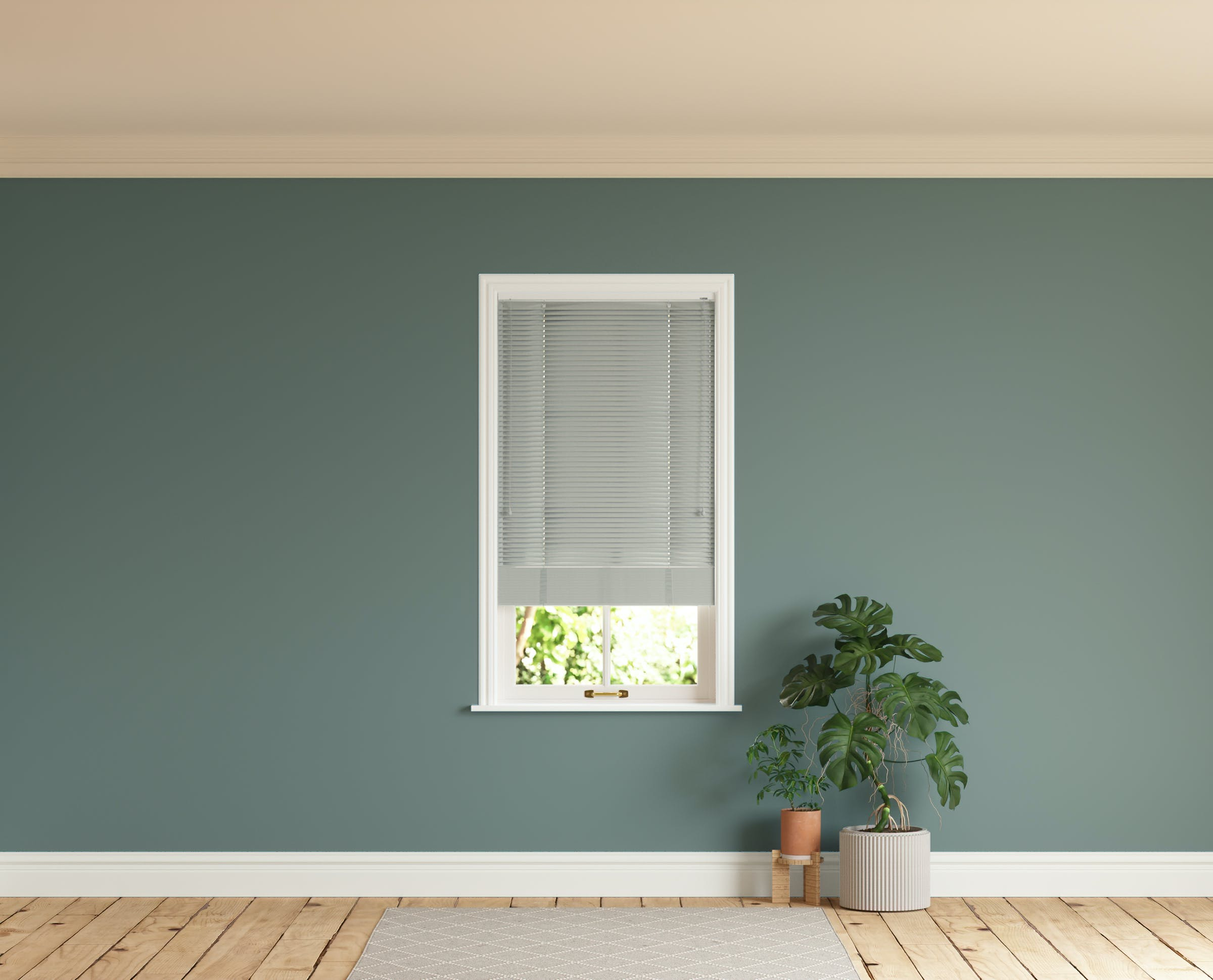 Room with walls painted in Lick Green 03 and Grey 04 Venetian fine grain blinds