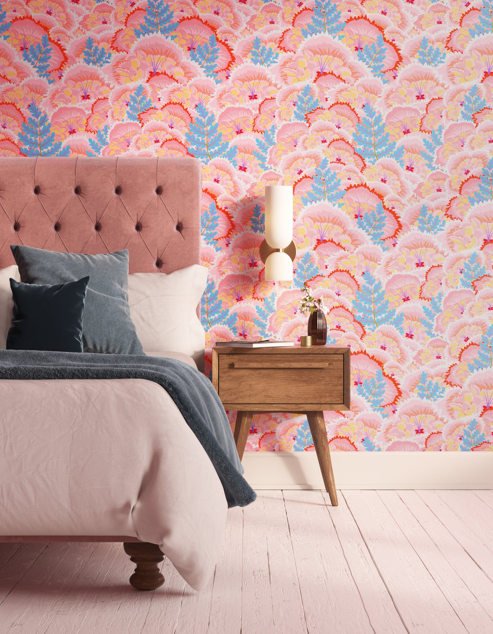 Bedroom decorated with Lick Electric Poppies 01, a pink floral wallpaper