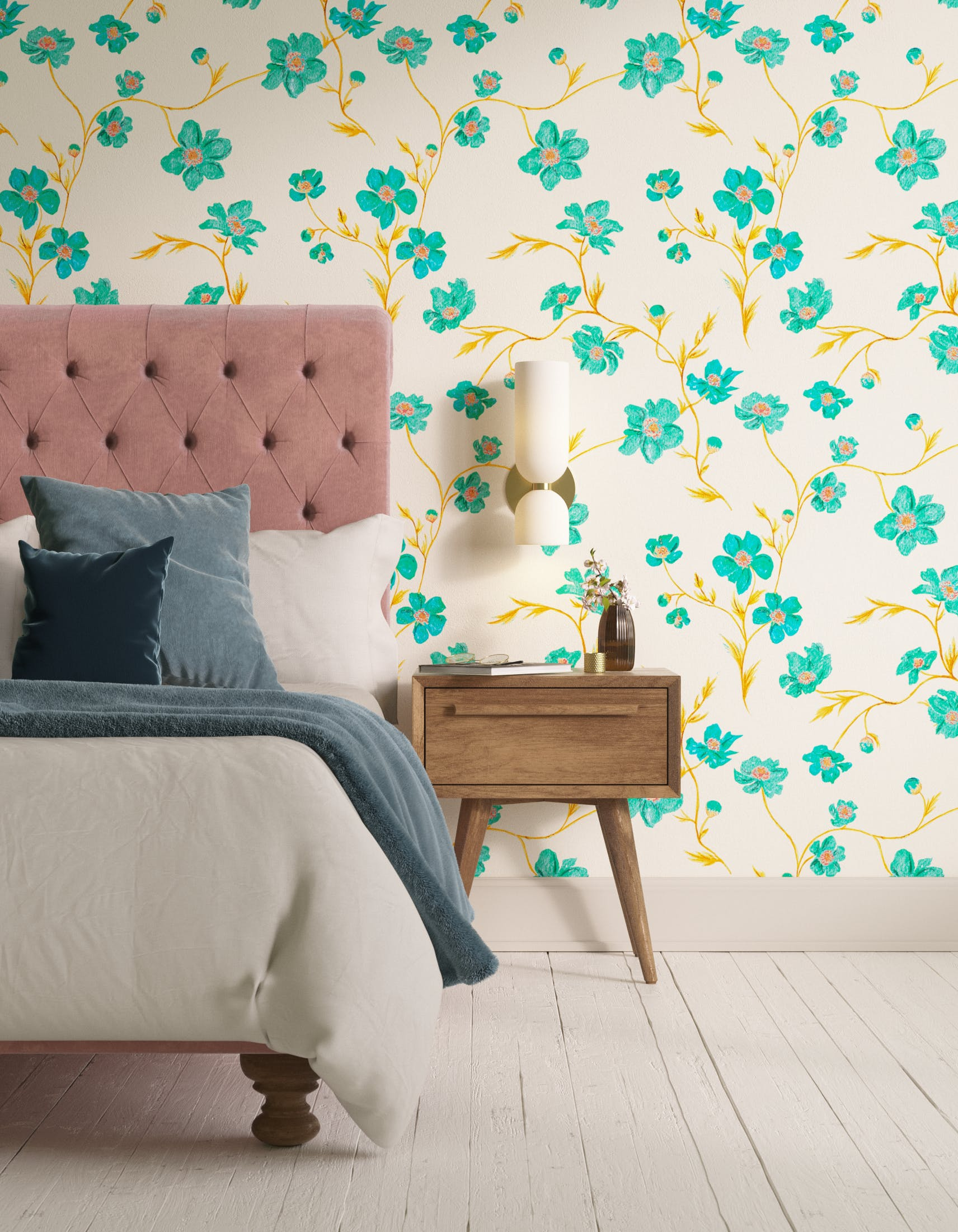 Bedroom decorated with Lick x Jenna Hewitt Anemone 01 turquoise floral wallpaper