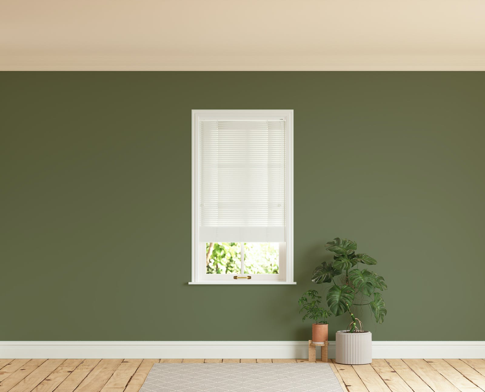 Room with walls painted in Lick Green 05 and White 01 Venetian fine grain blinds