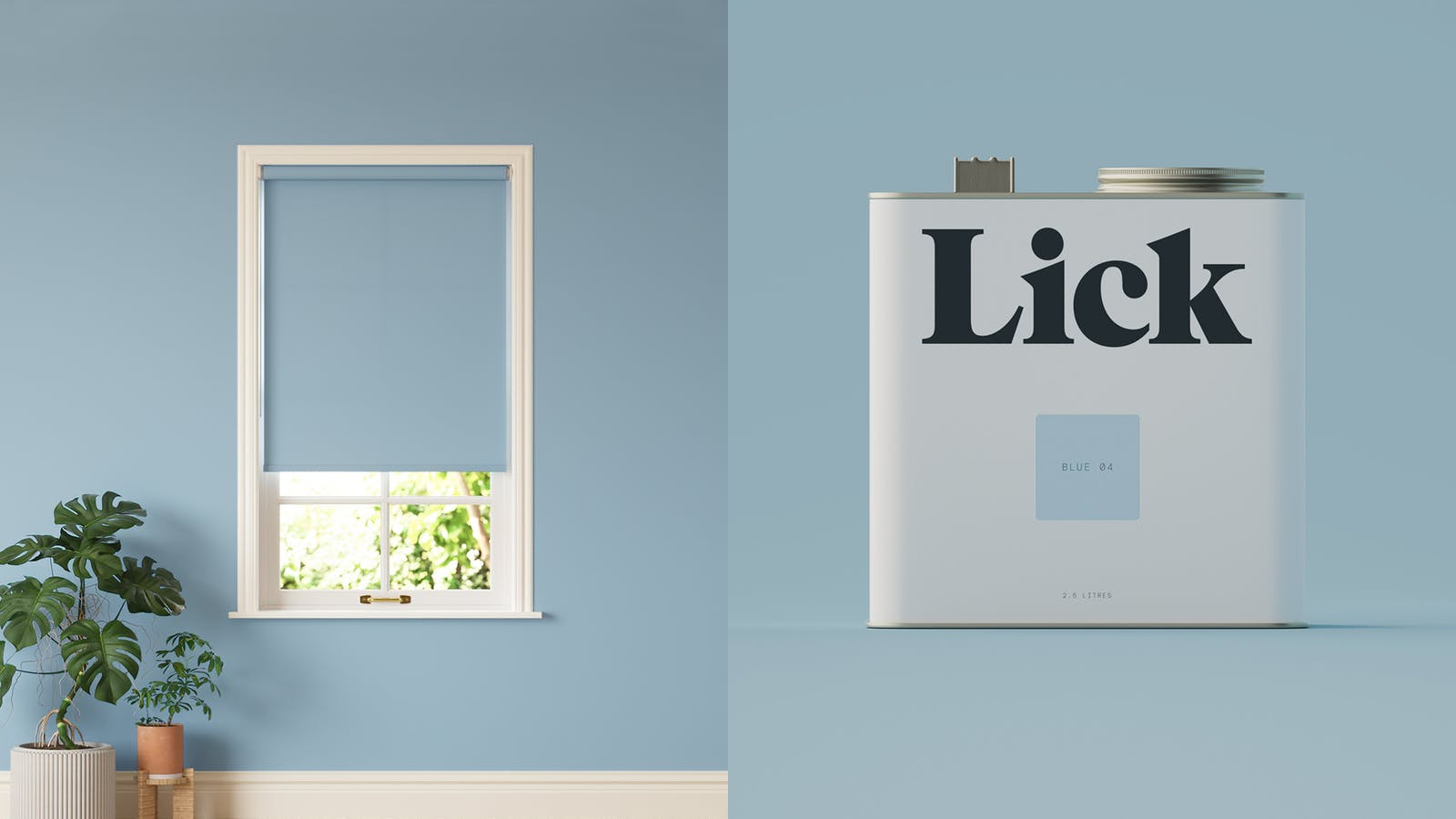 Lick roller blinds in Blue 04 against Lick Blue 04 paint tin