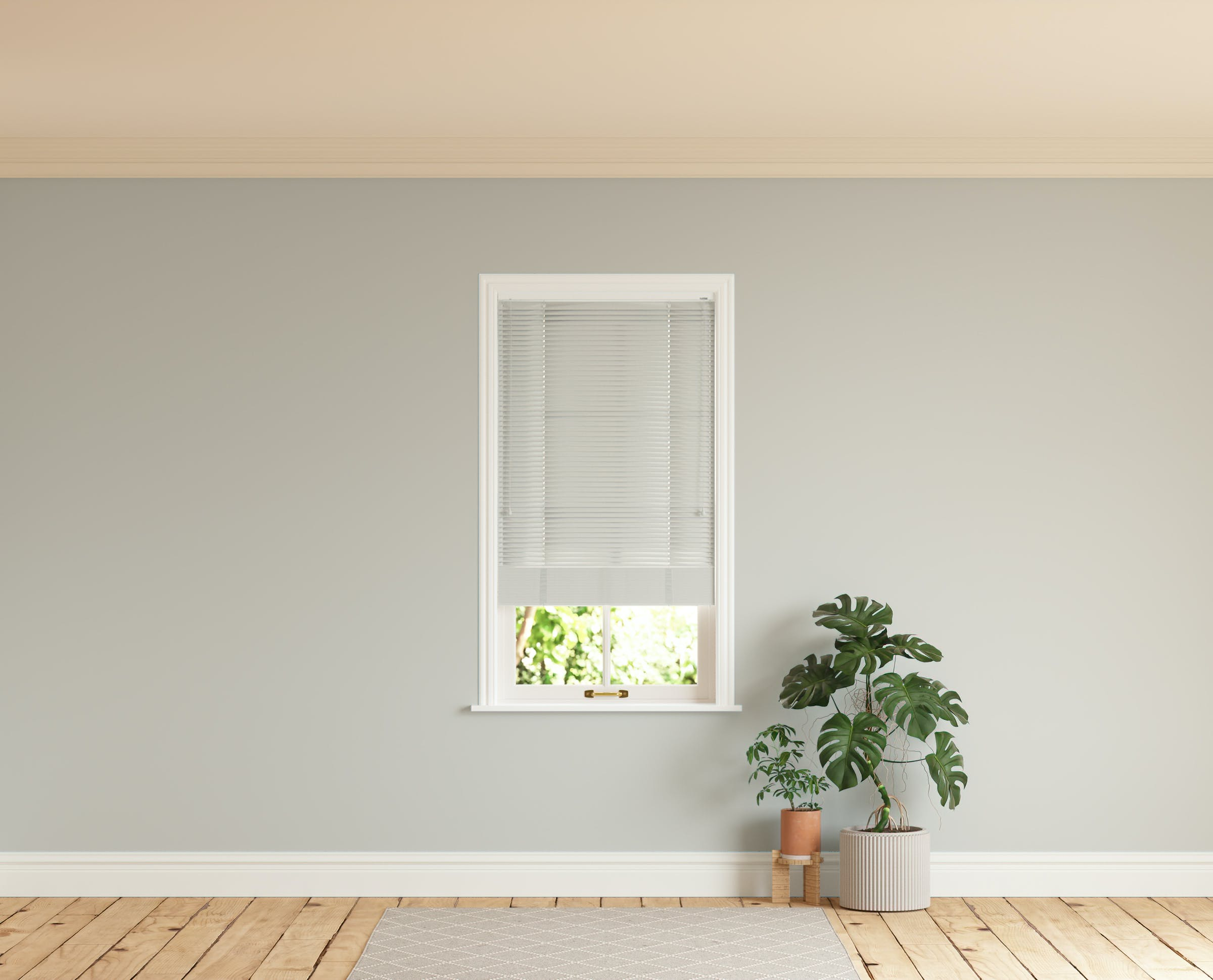 Room with walls painted in Lick Grey 03 and Grey 03 Venetian fine grain blinds