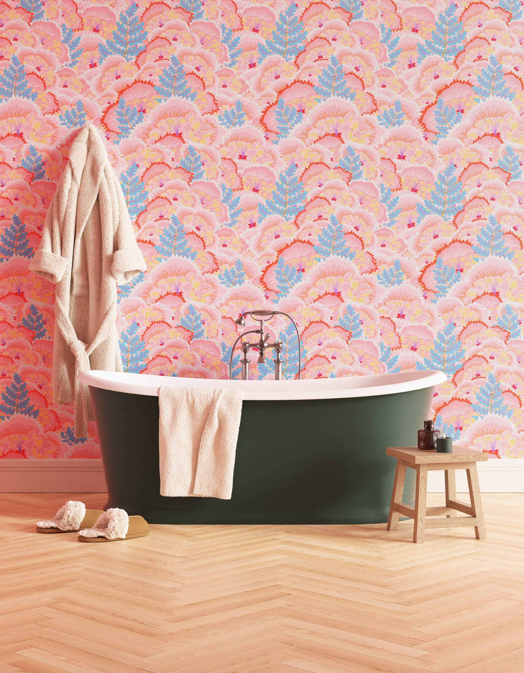 Bathroom decorated with Lick Electric Poppies 01, a pink floral wallpaper
