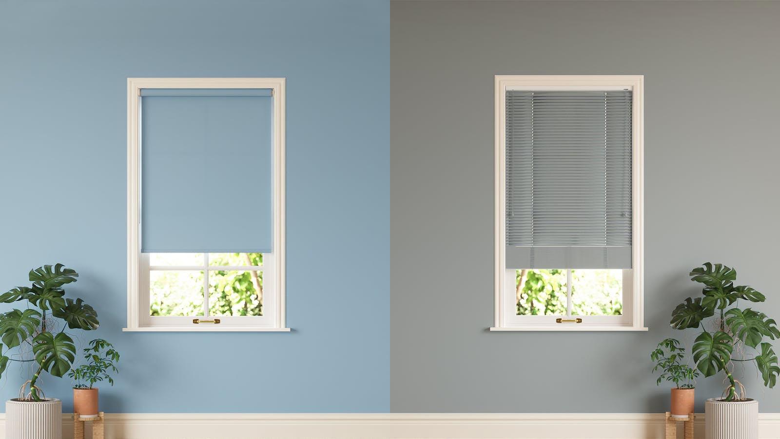 Lick blue roller blinds against Lick grey Venetian blinds