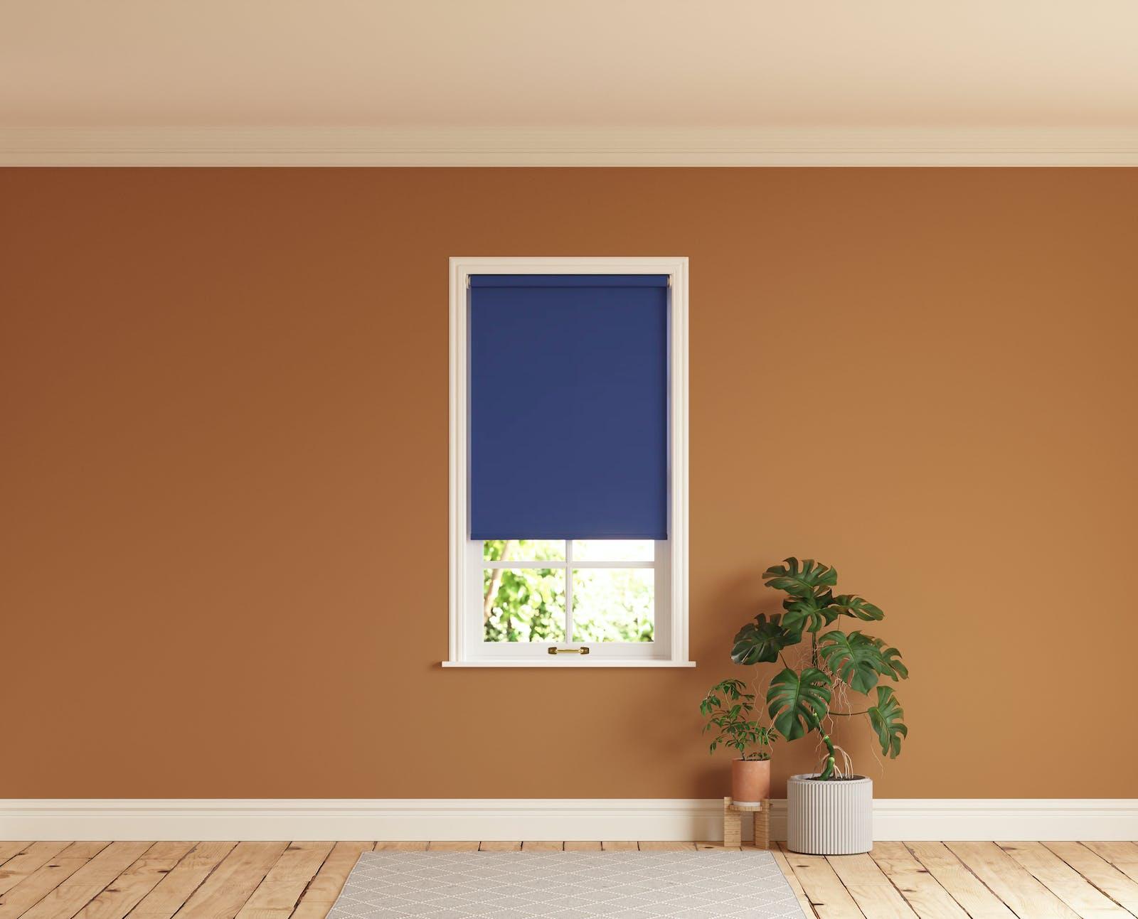 Lick Blue 08 roller blinds against an Orange 02 wall