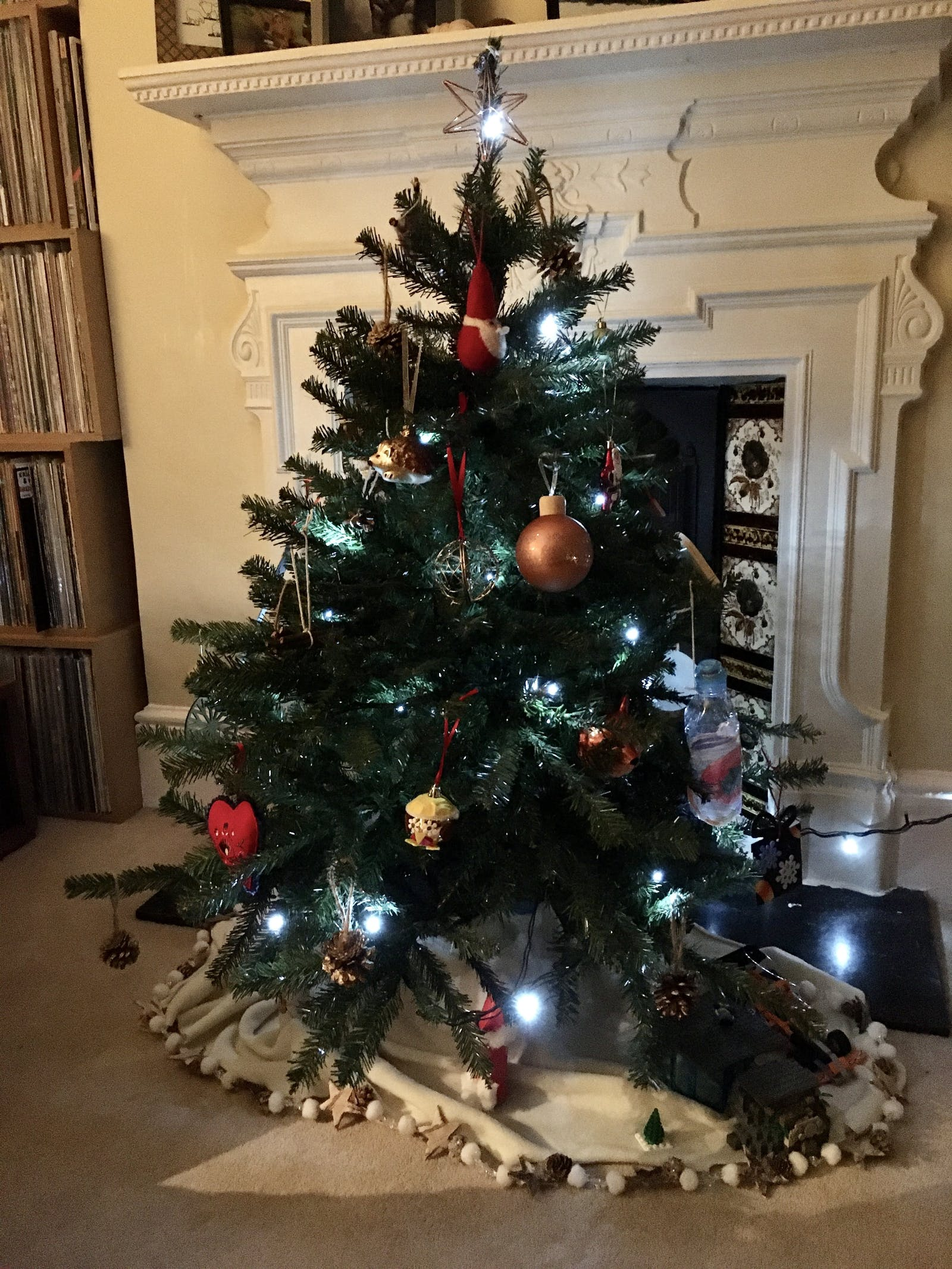 Christmas tree with an assortment of baubles