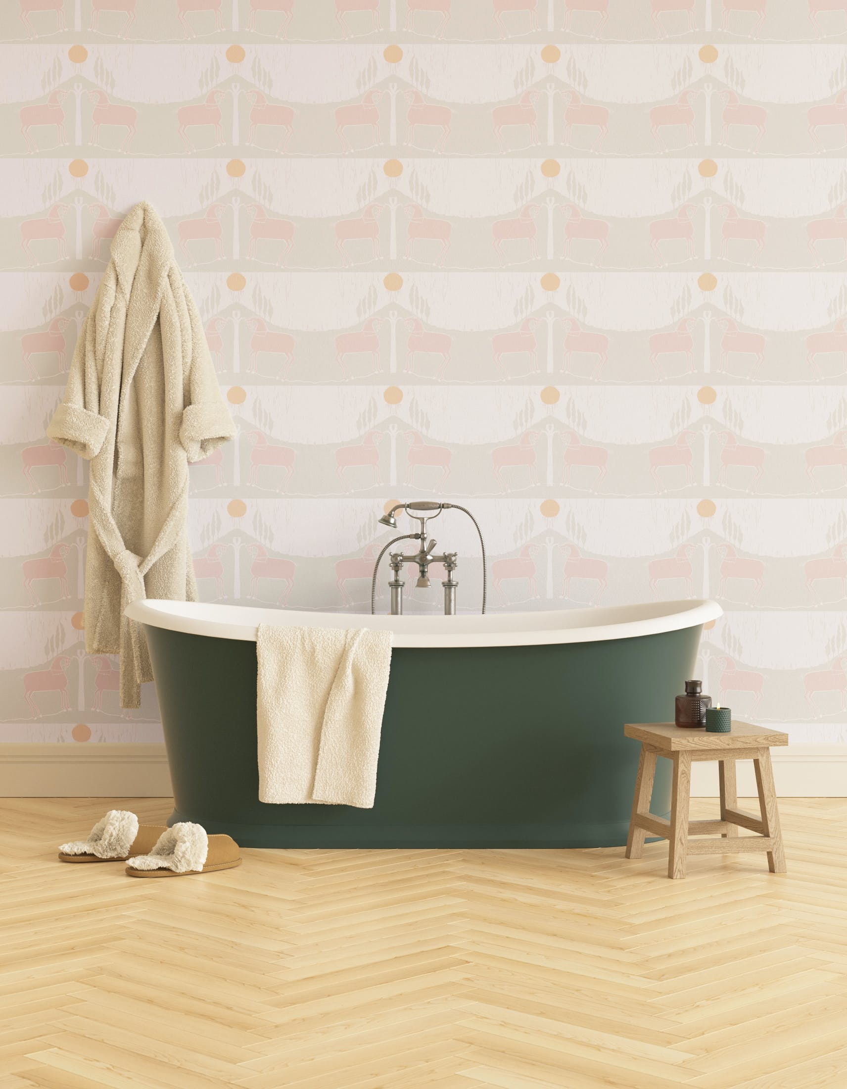 Bathroom decorated with Lick x Annika Reed Western 02 white and mint green animal wallpaper