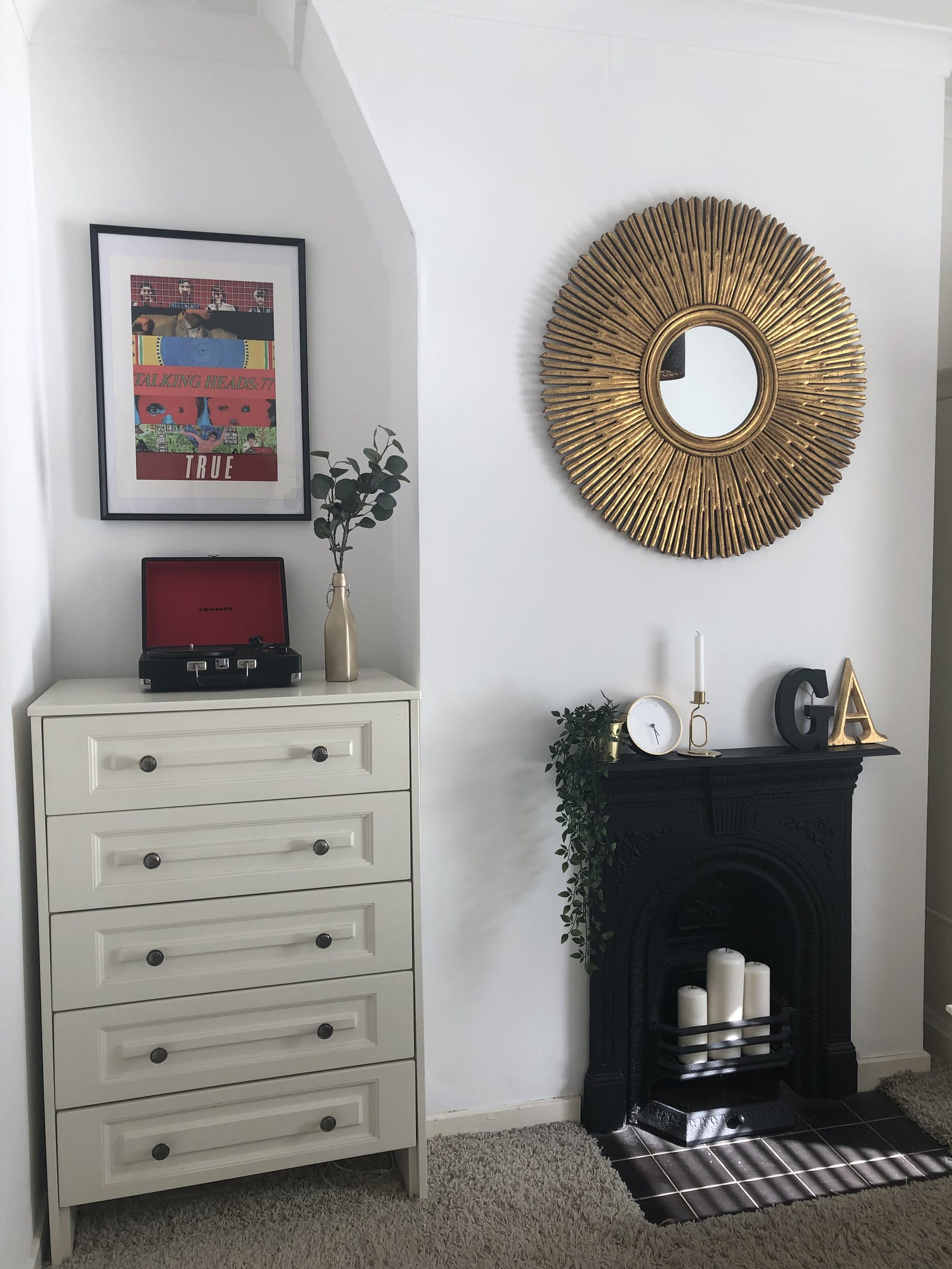 Room corner with a fireplace