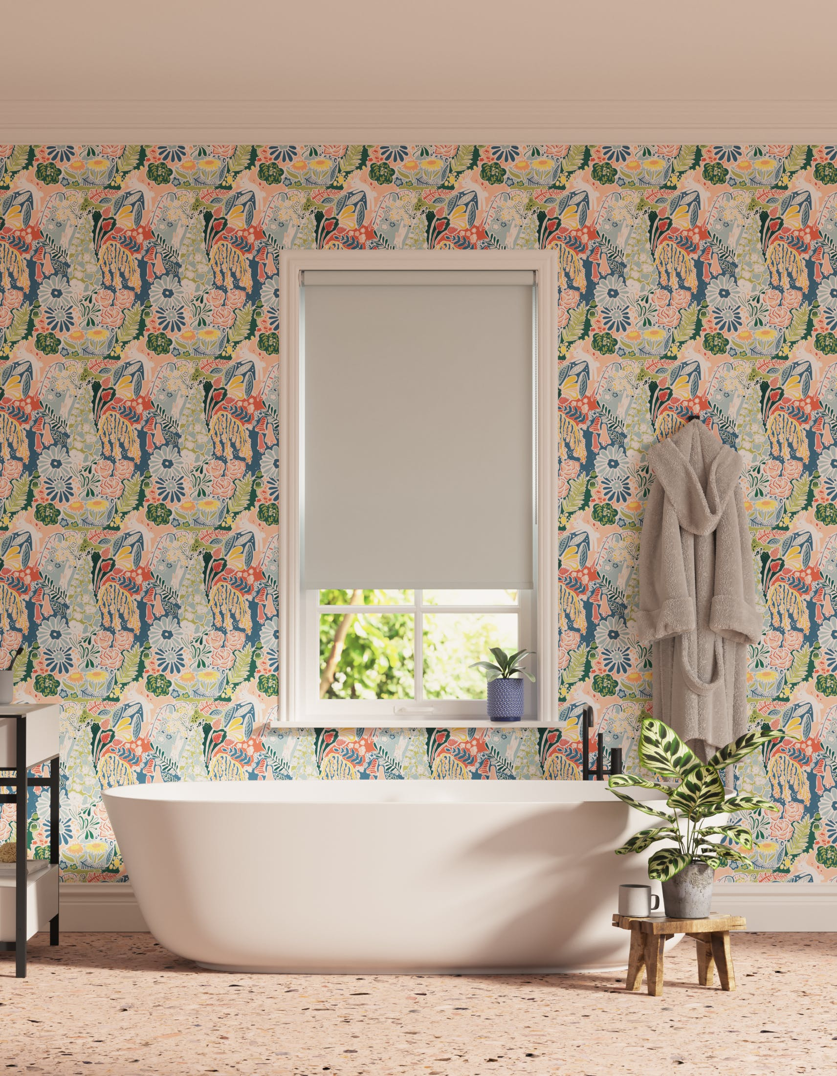 Bathroom decorated with Lick x Franki Barber Enchanted Forest 01 kid's magical rabbit wallpaper