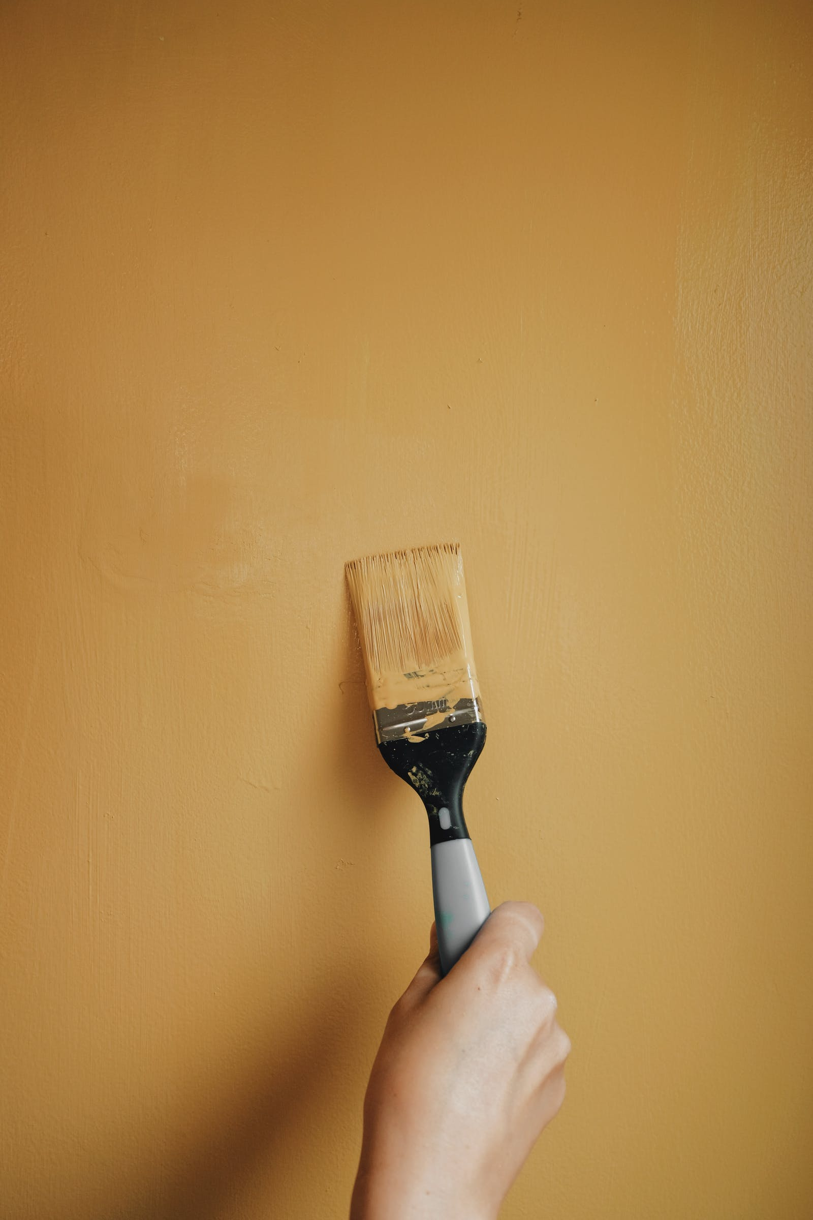Image of person's hand using a paintbrush to paint the walls Yellow 02