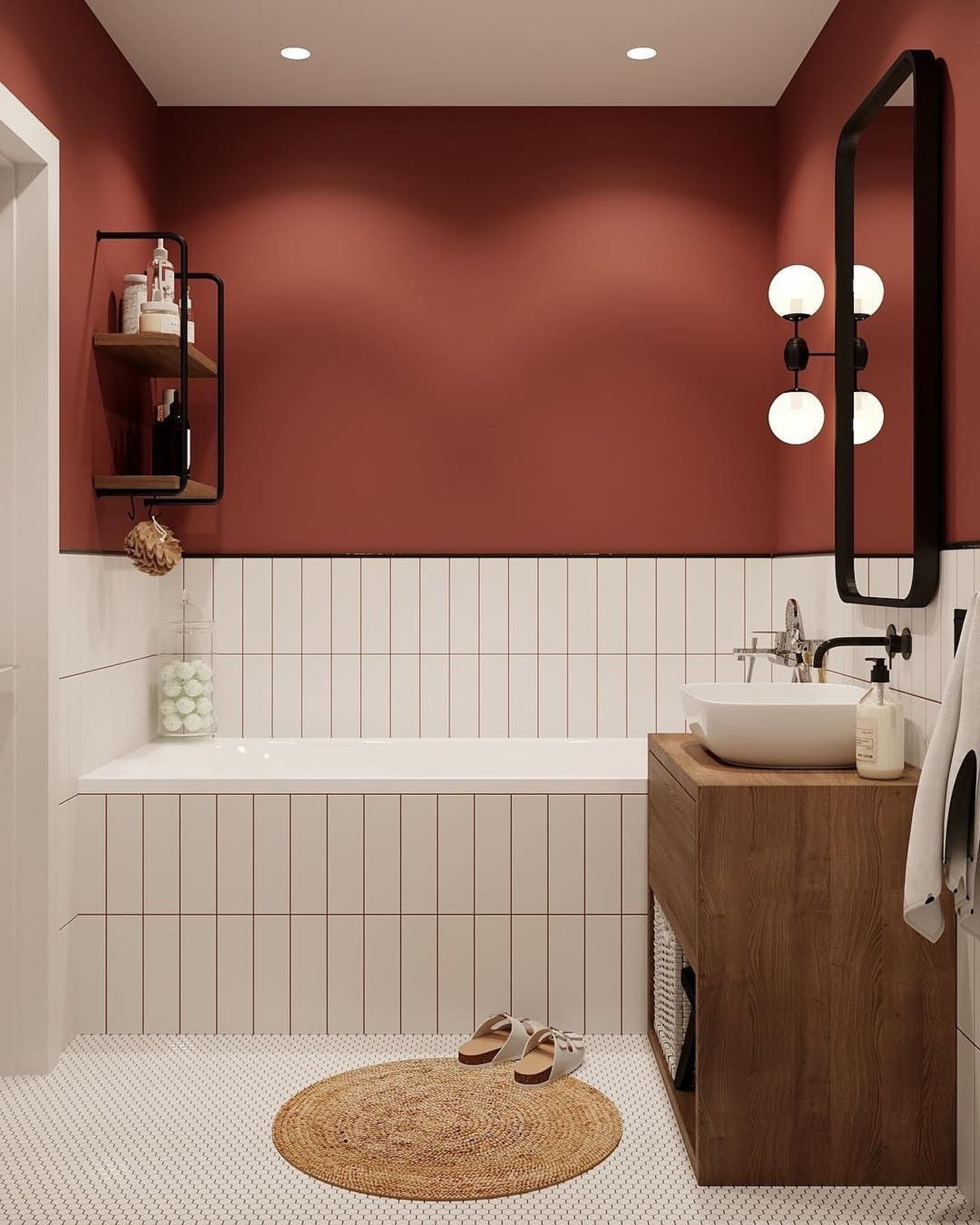 Terracotta red bathroom with white tiles