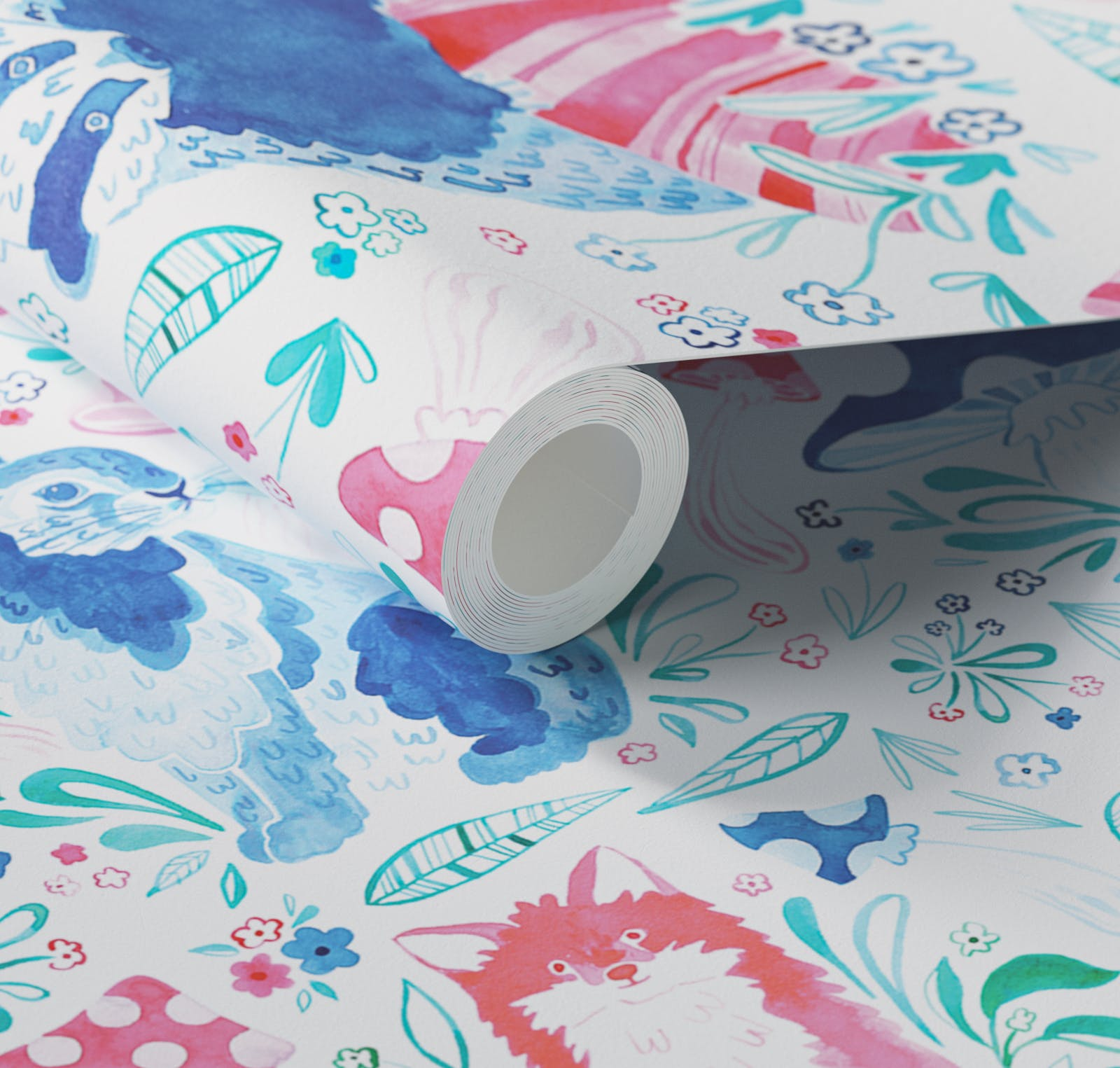 Close up of Lick x Franki Barber Woodland Animals 01 pink and blue children's wallpaper