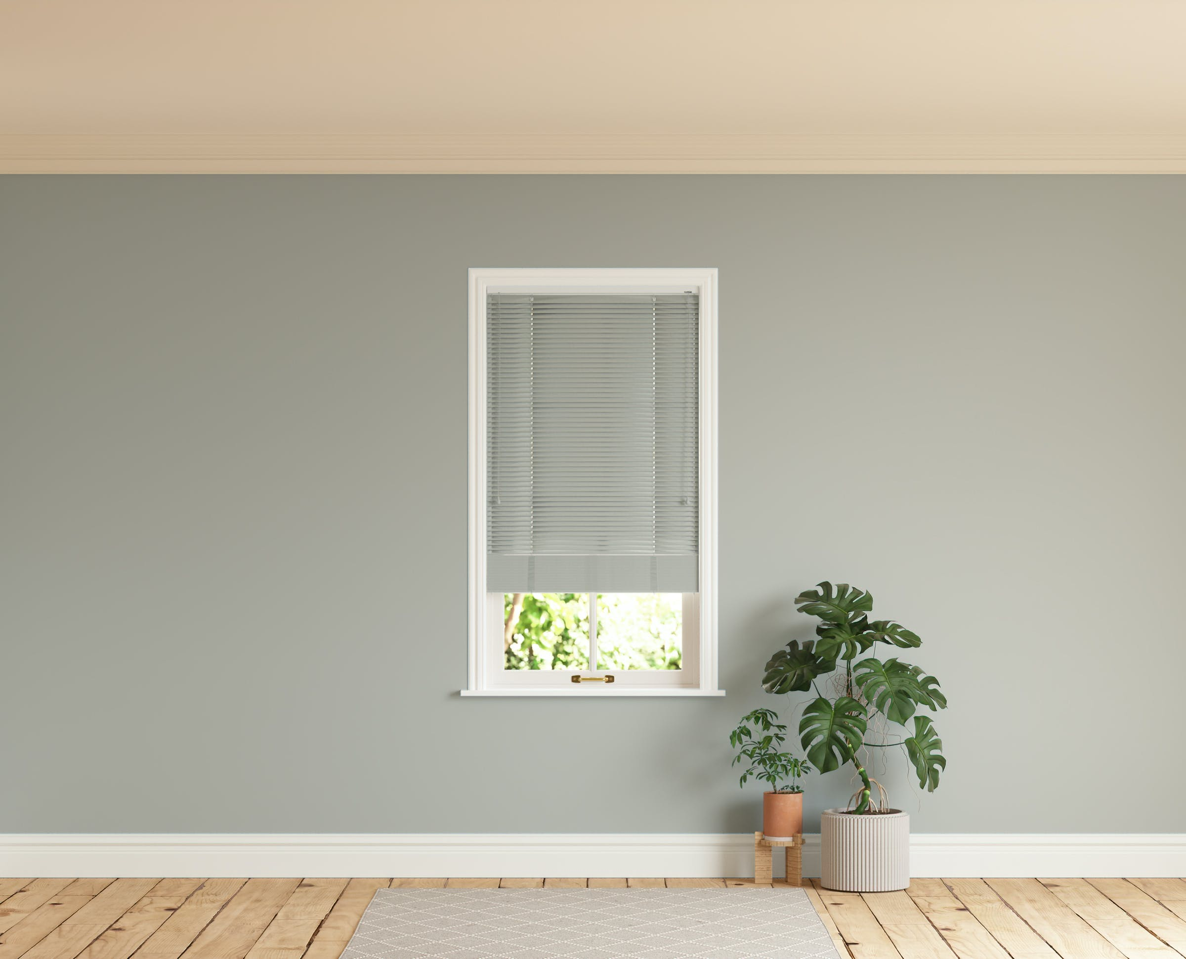 Room with walls painted in Lick Grey 04 and Grey 04 Venetian fine grain blinds