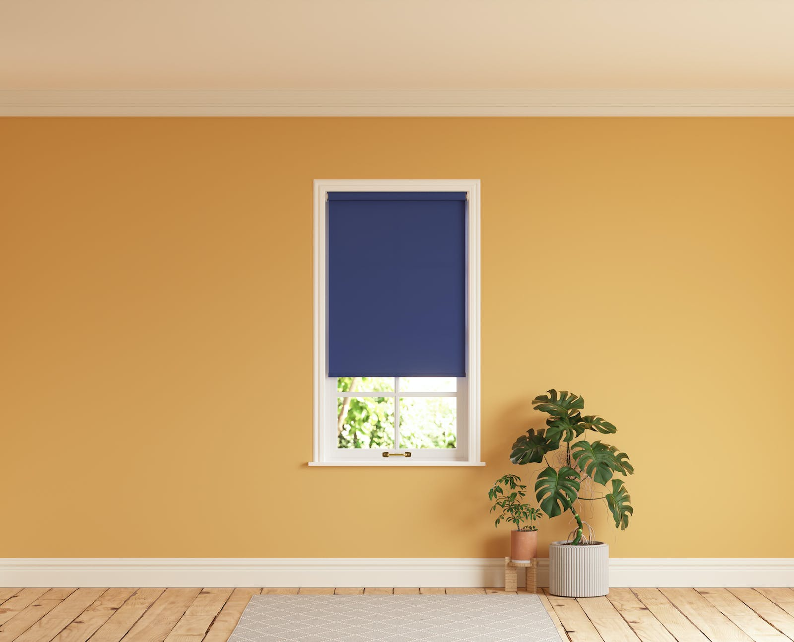 Room with walls painted in Lick Yellow 02 and Blue 08 roller blinds