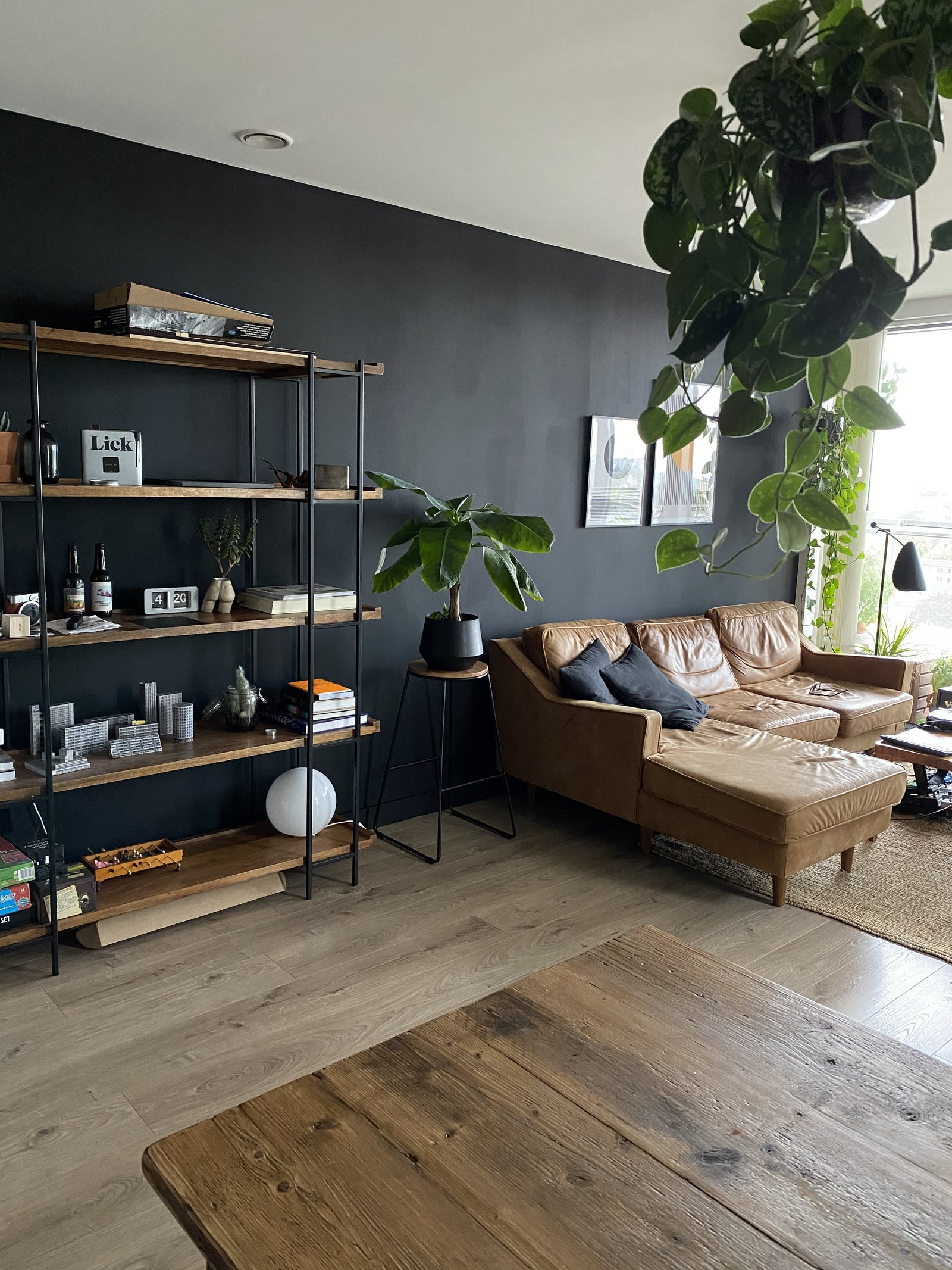Light and bright living room painted in Lick black 02 with a large sofa and shelving