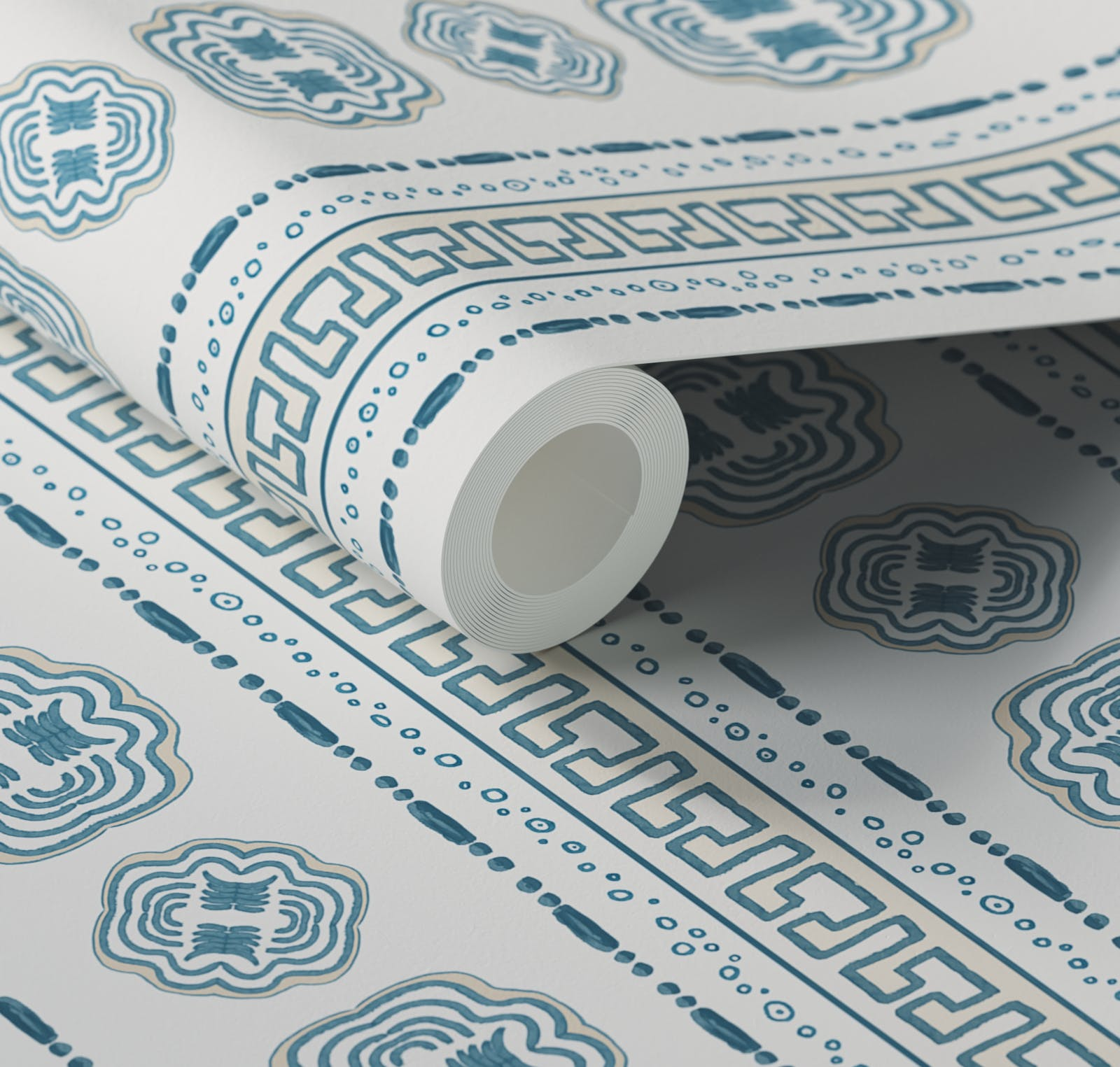 Close up of Lick x Lottie McDowell Hestia 01 greek patterened wallpaper