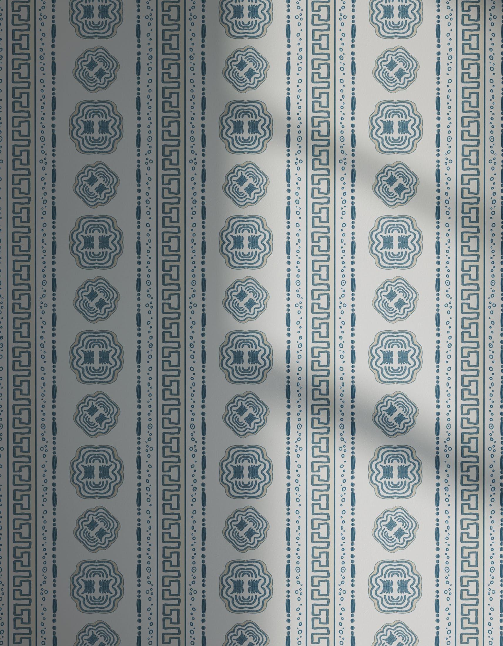 Lick x Lottie McDowell Hestia 01 greek patterned wallpaper with shadow