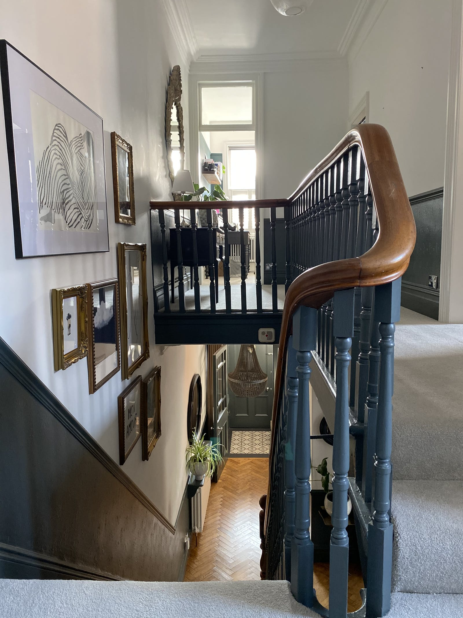 Staircase and gallery wall