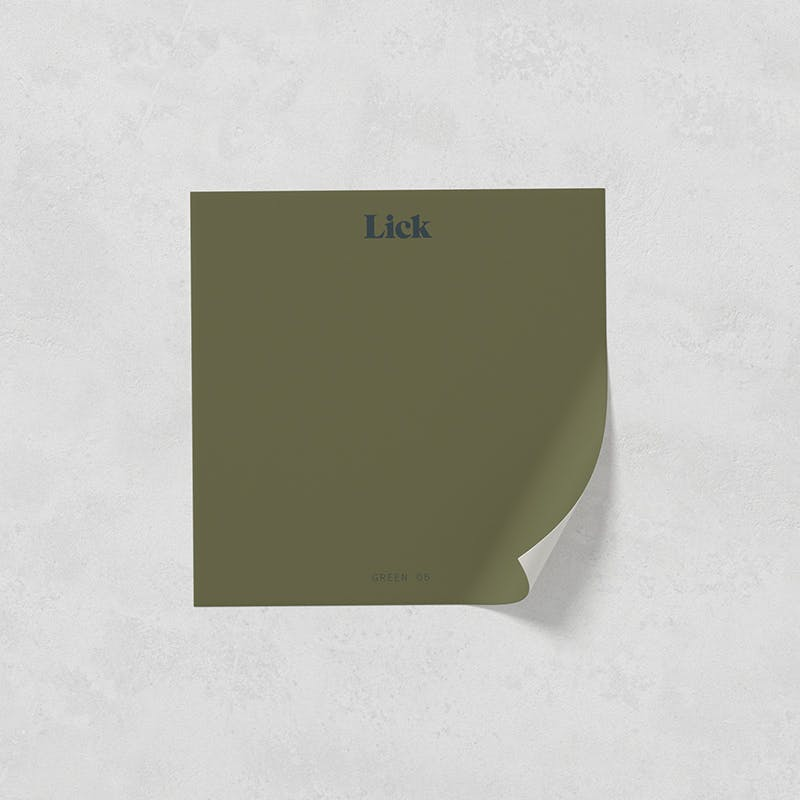 Lick peel and stick paint sample in Green 05