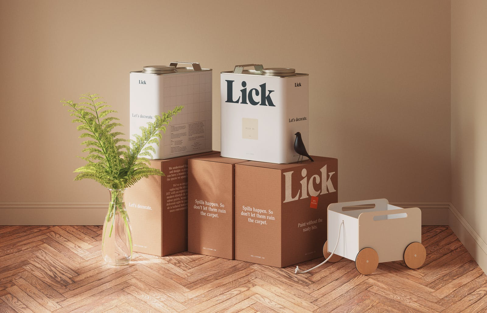Lick tins and lick branded packaging boxes on floor