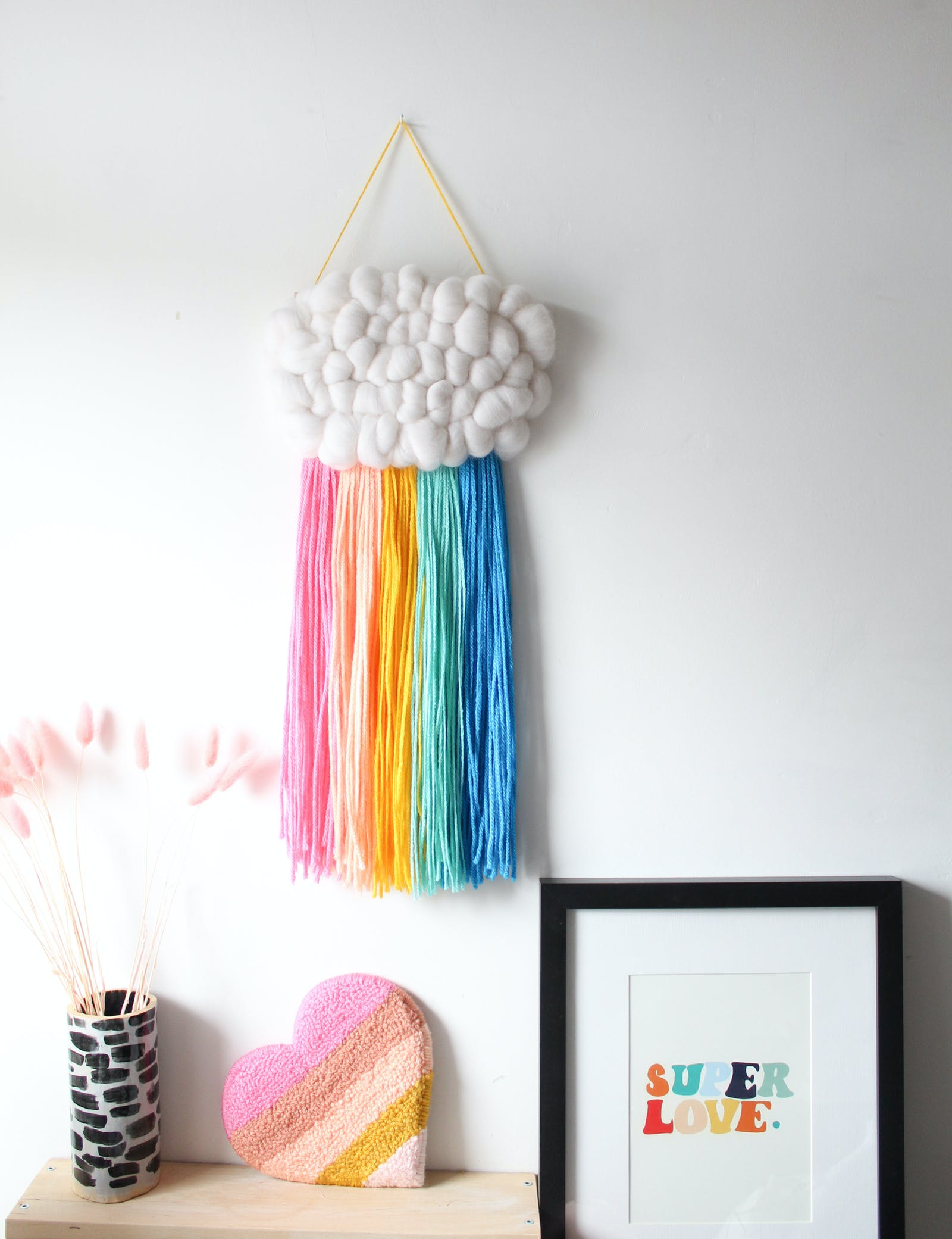 Hanging wall art, textured cloud with rainbow threads