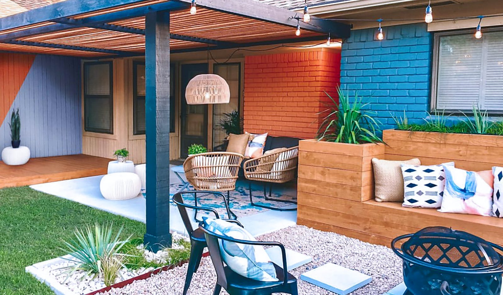 Image of bohemian backyard fitted with various seating areas and lounge pit