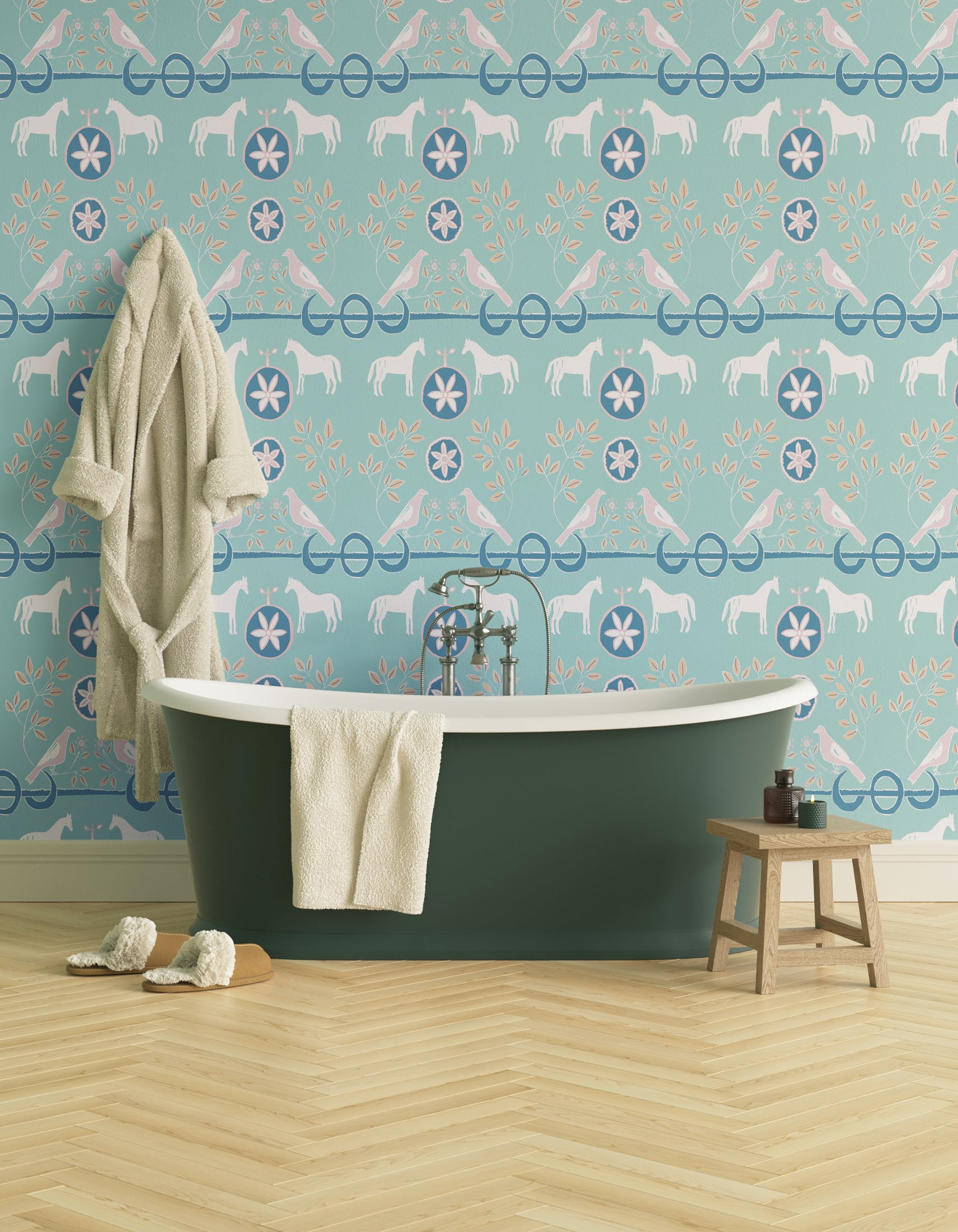 Bathroom decorated with Lick x Annika Reed Dove 02 kid's green dove wallpaper