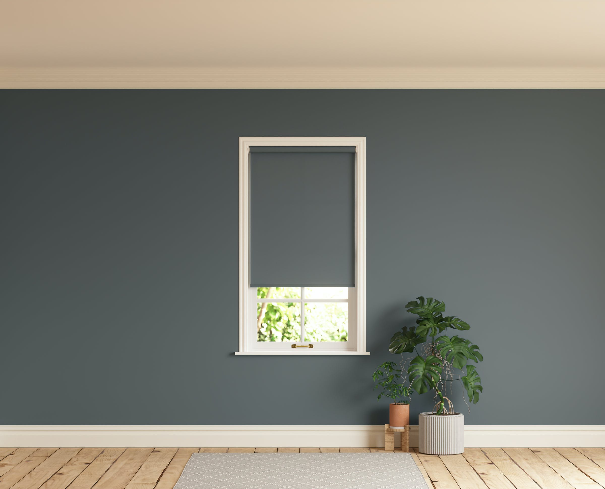 Room with walls painted in Lick Grey 07 and Grey 07 roller blinds