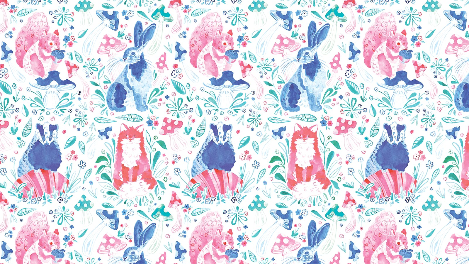 Lick x Franki Barber Woodland Animals 01 pink and blue children's wallpaper