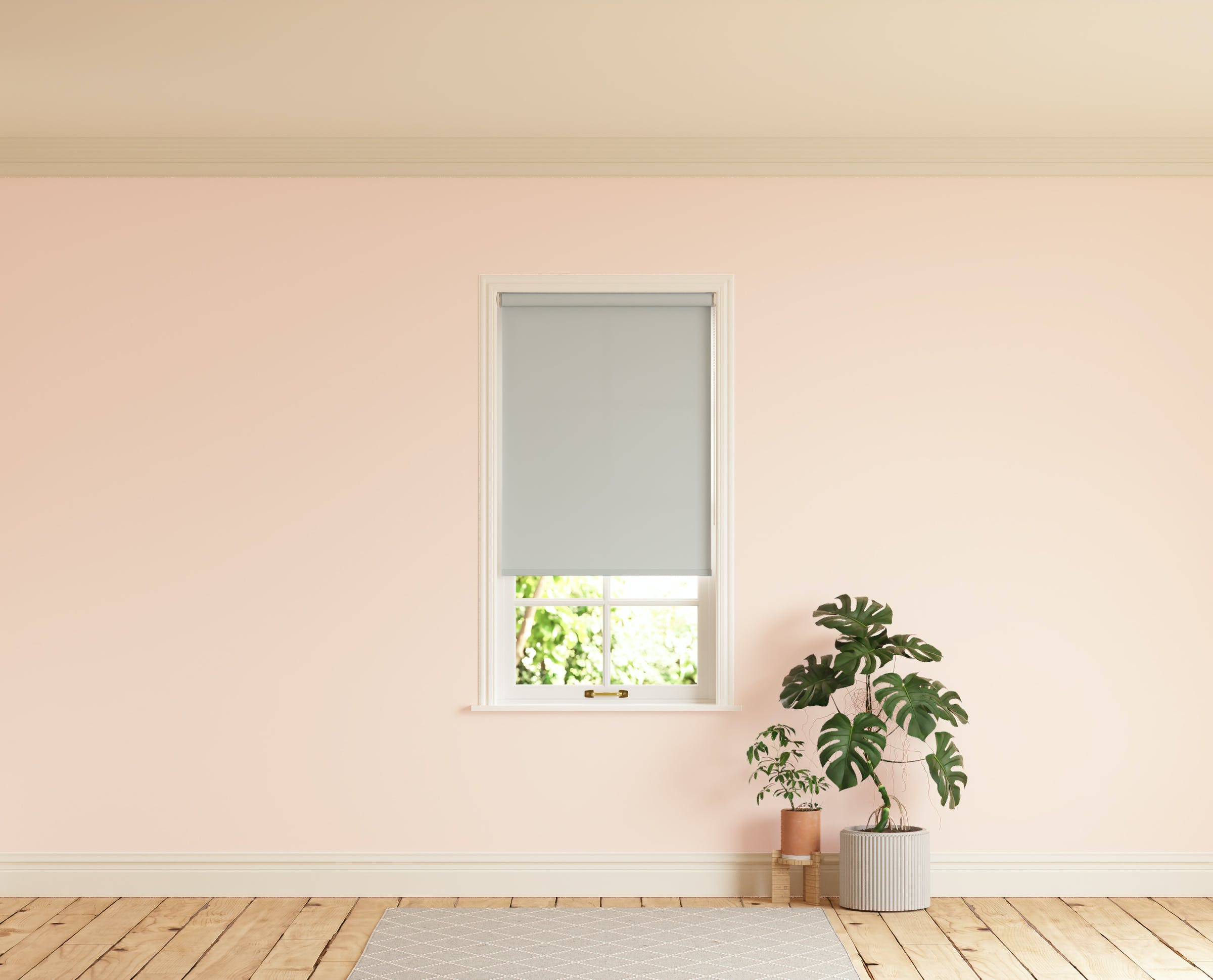 Room with walls painted in Lick Pink 02 and Grey 03 roller blinds