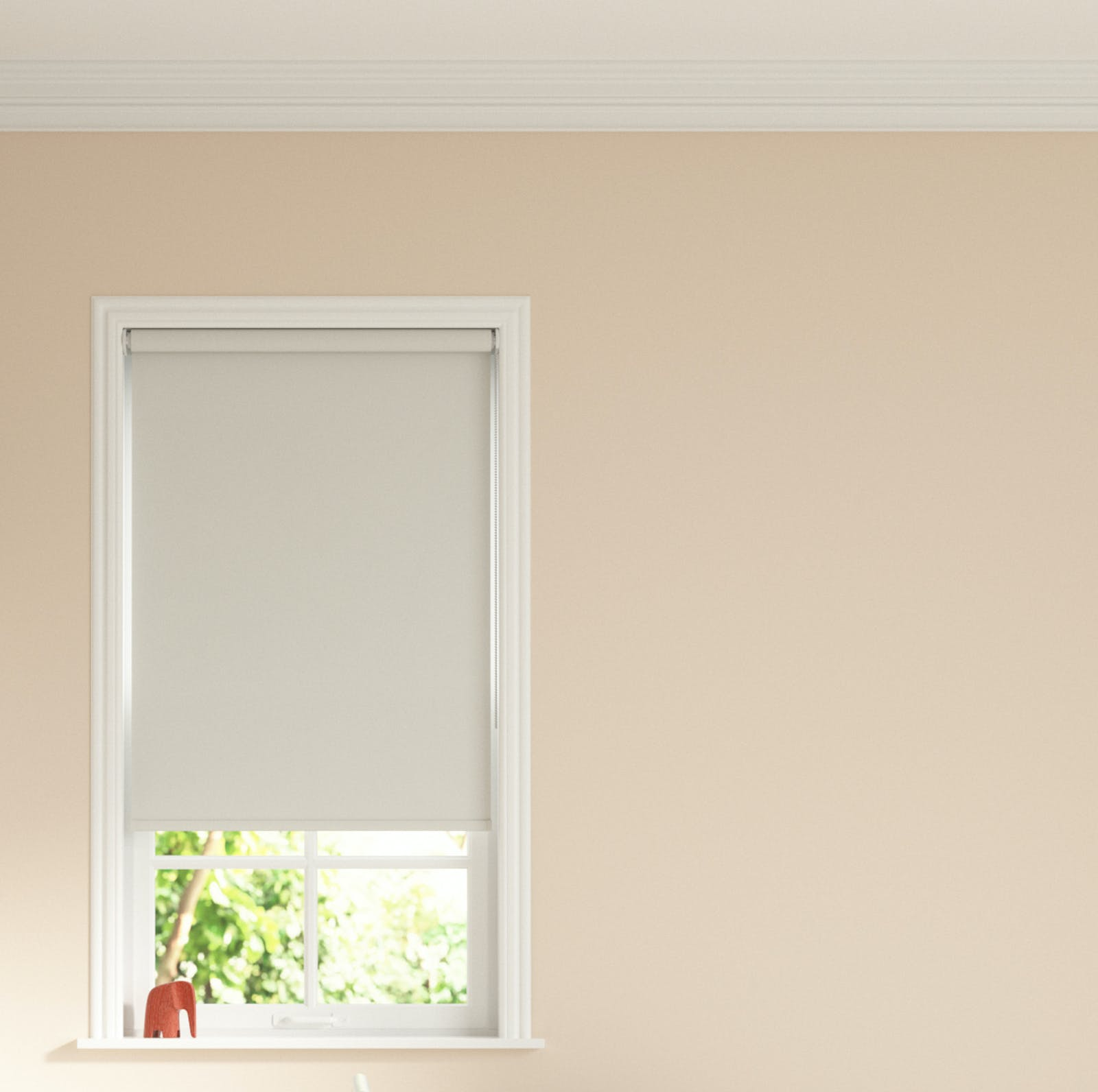Close up image of Pink 02 painted walls with Grey 03 roller blinds covering window