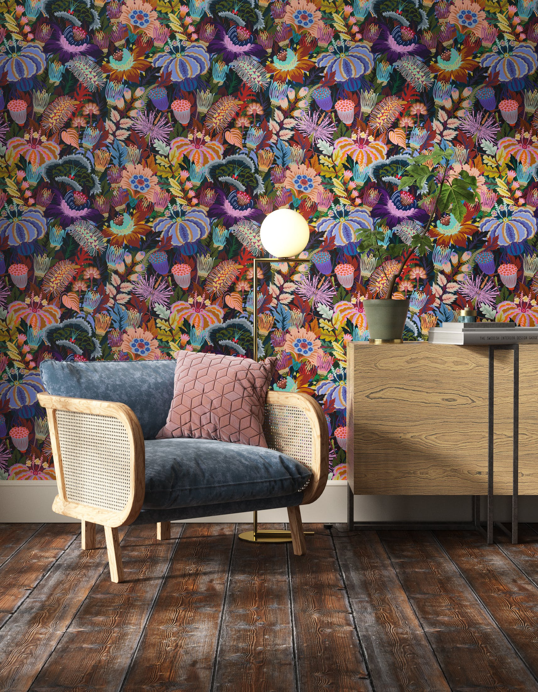 Living room decorated with Lick Mars Meadow 01, a orange floral wallpaper