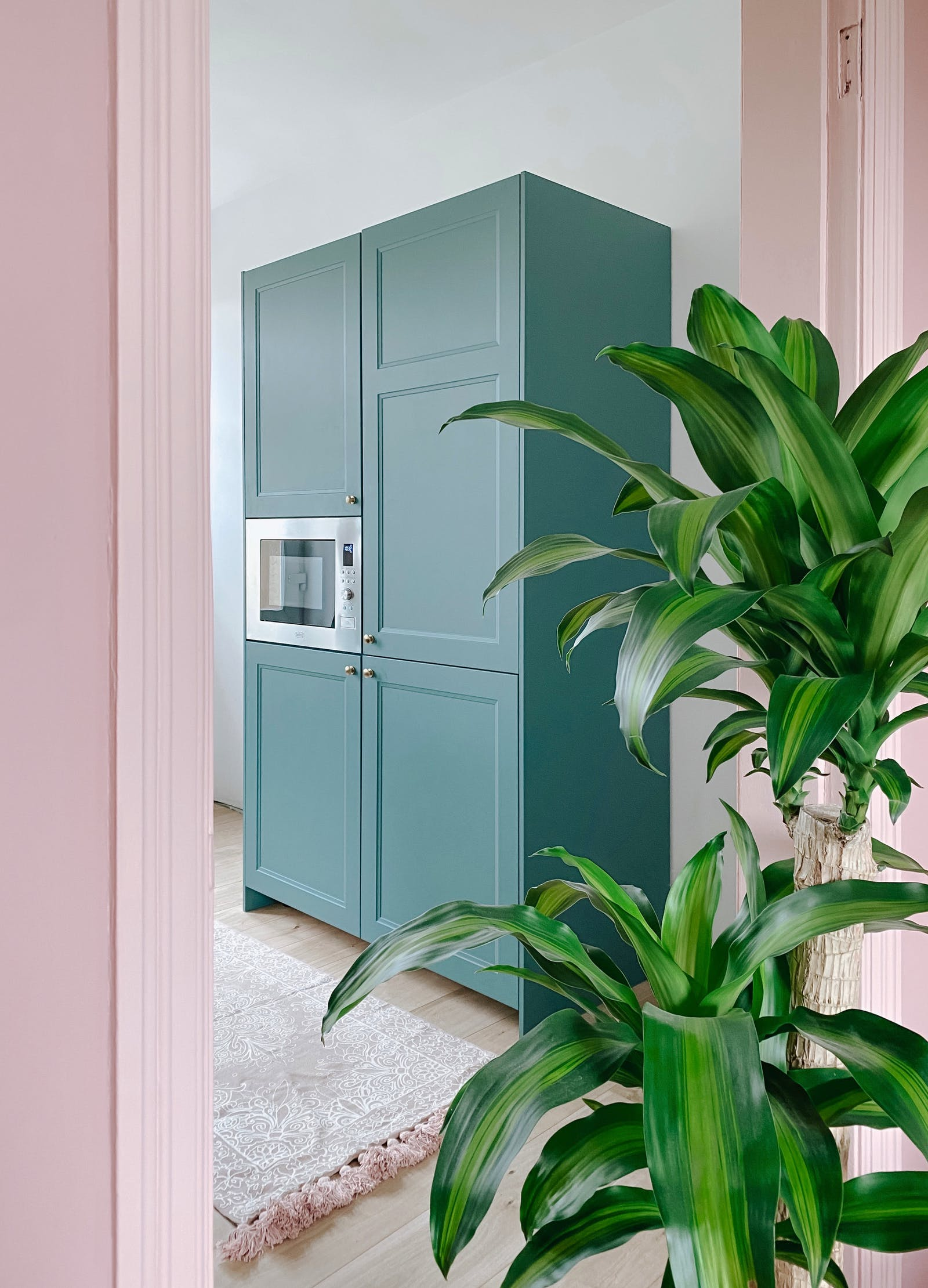 Turquoise green kitchen cabinets in a pink doorway