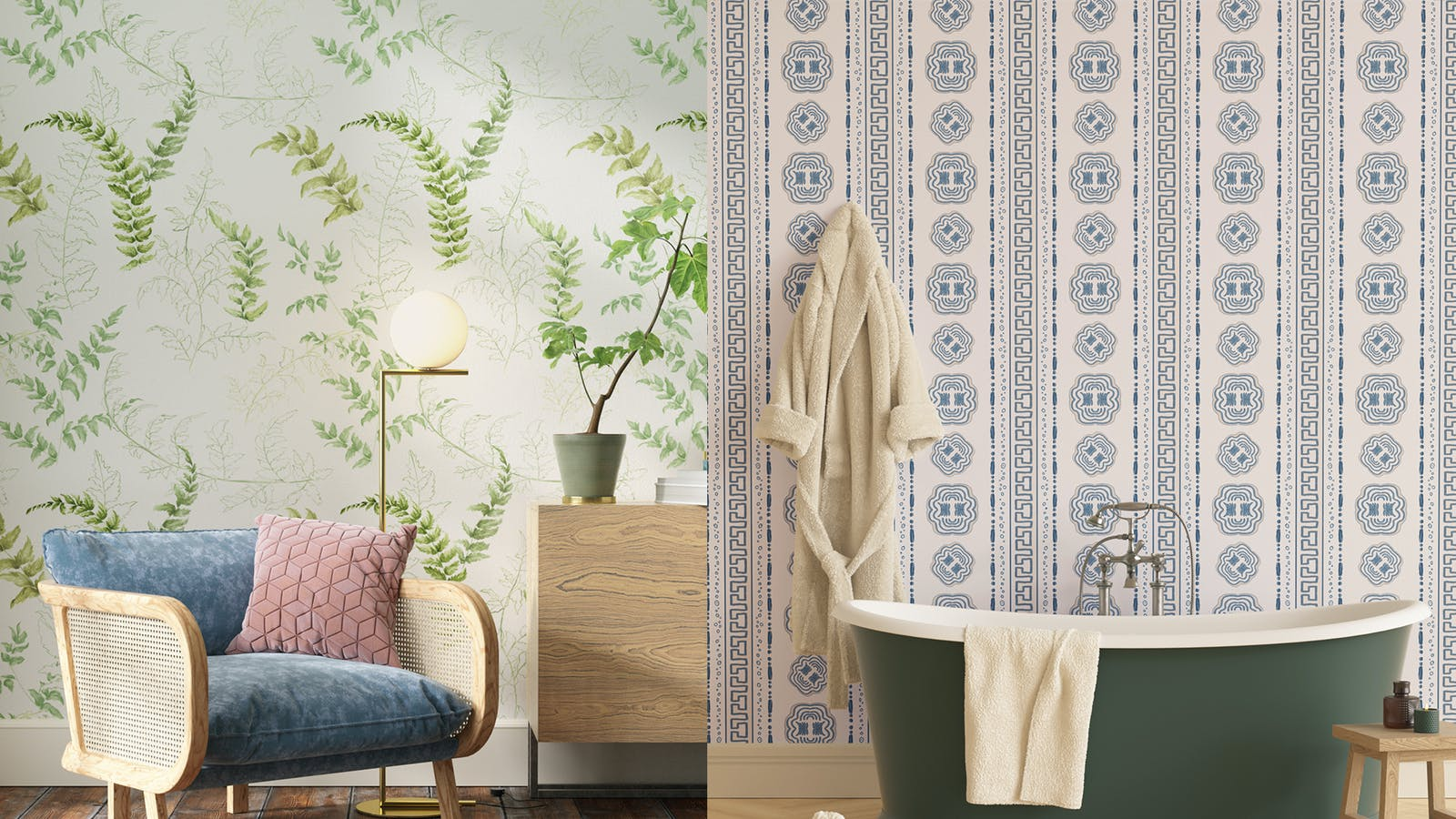 Living room with Fern 01 wallpaper and Bathroom with Hestia 01 wallpaper