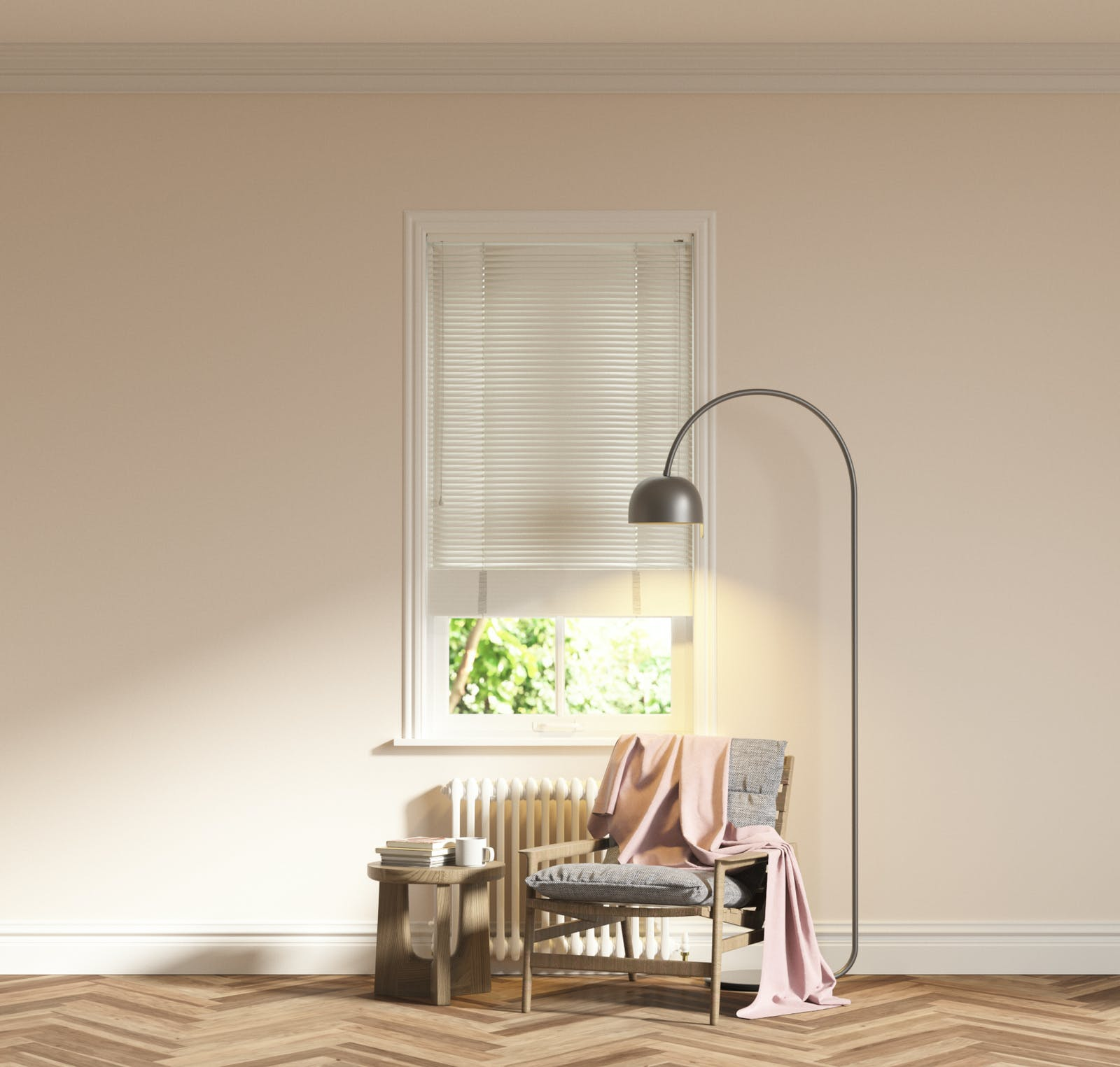 Image of living room with White 01 Venetian blinds and Pink 01 walls
