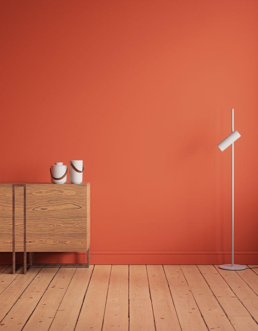 Kitchen scene decorated with Lick Orange 01 paint