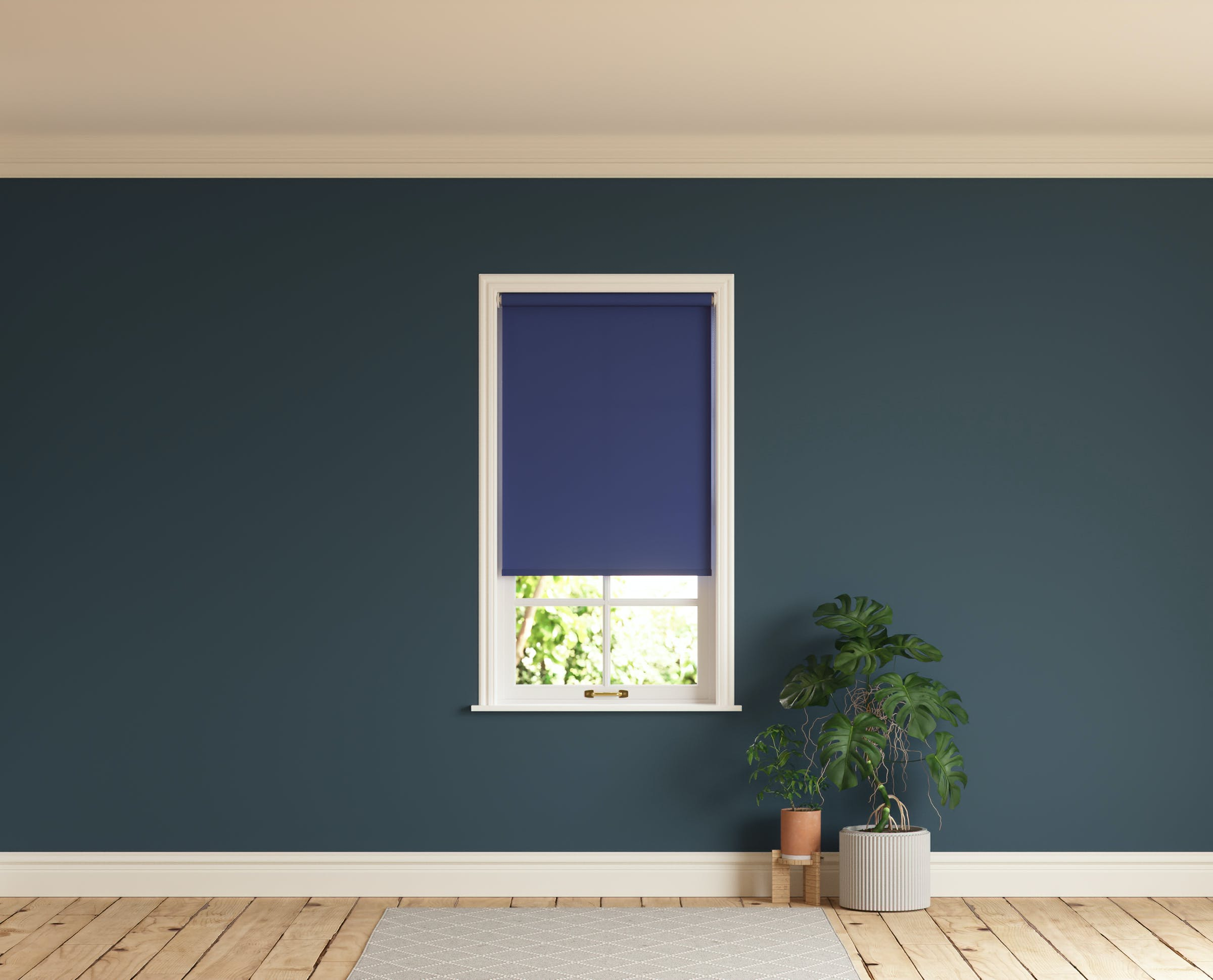 Room with walls painted in Lick Blue 07 and Blue 08 roller blinds