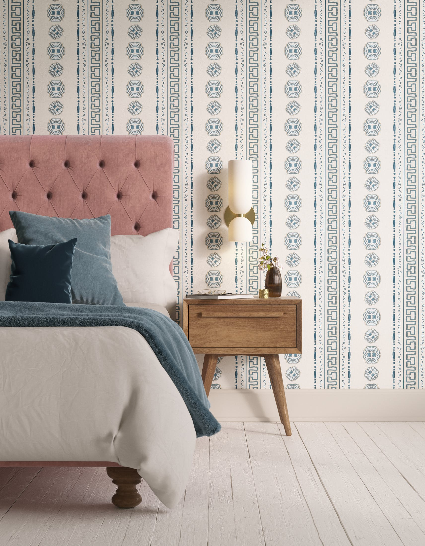 Bedroom decorated with Lick x Lottie McDowell Hestia 01 greek patterened wallpaper