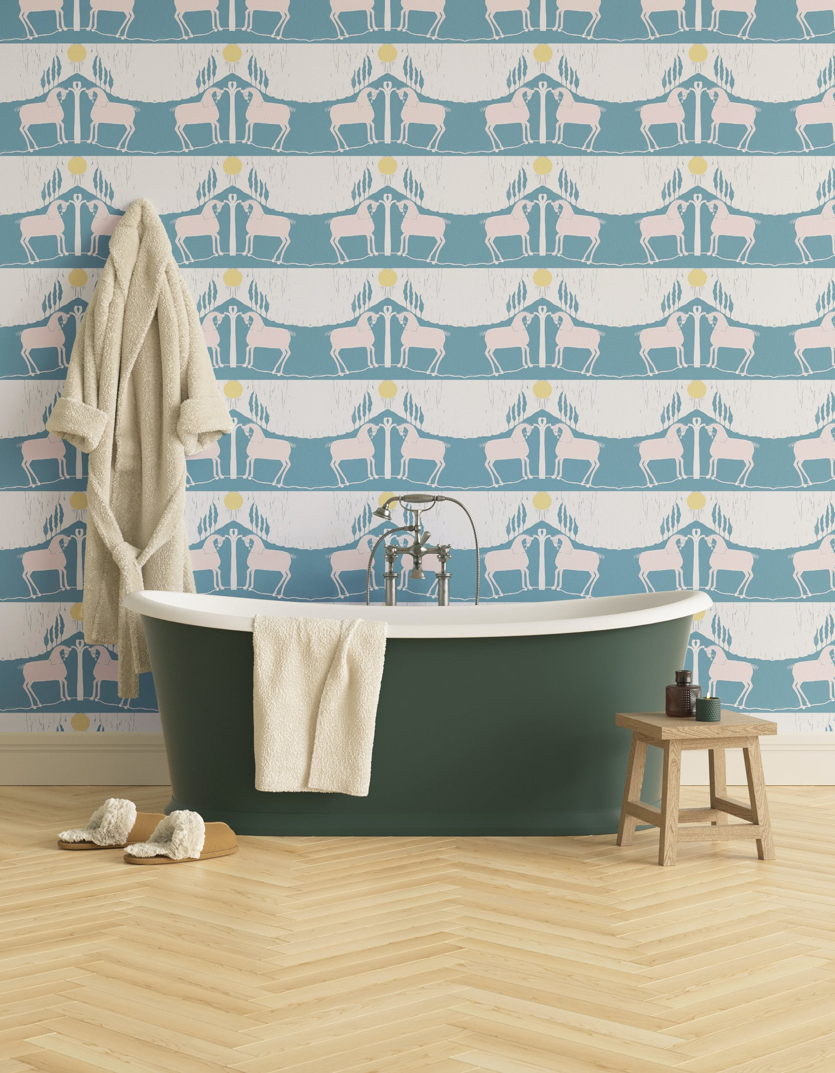 Bathroom decorated with Lick x Annika Reed Western 01 teal and yellow animal wallpaper